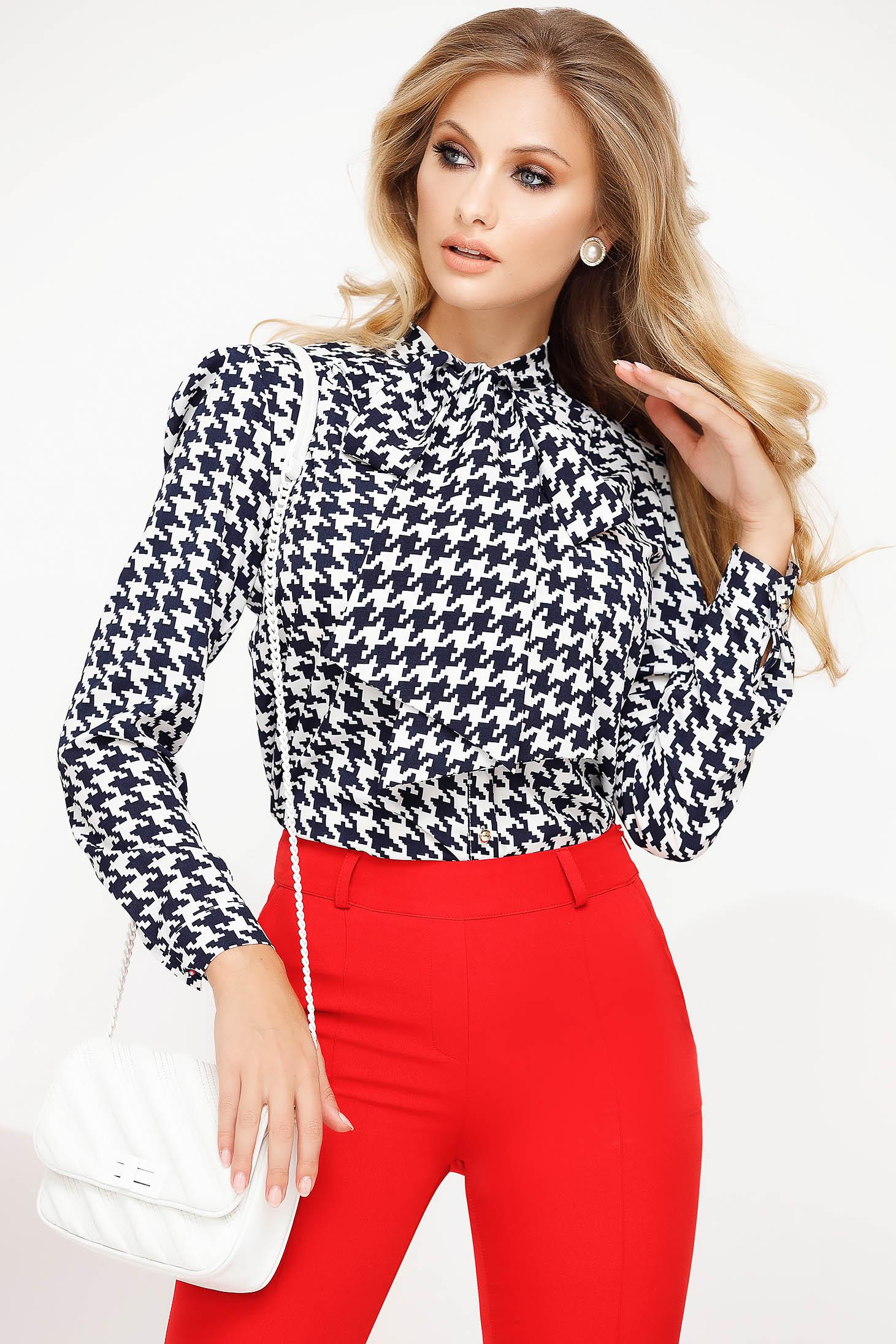 Women`s blouse black elegant office flared voile fabric