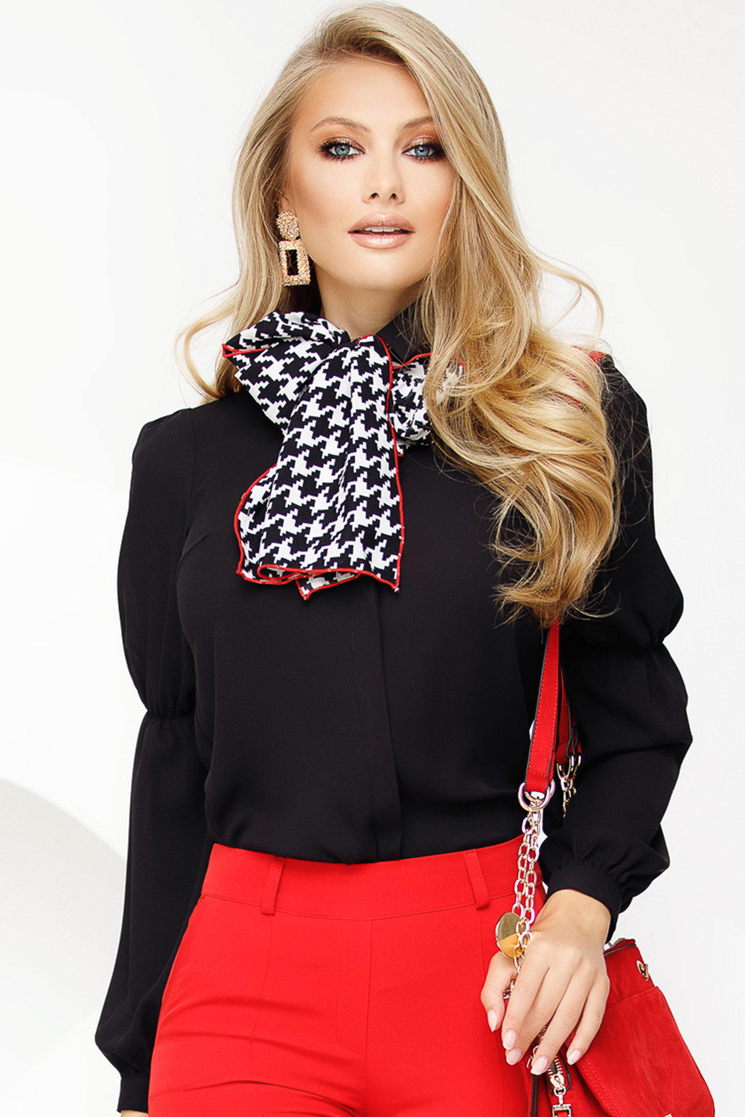 Black women`s blouse office voile fabric comes with a scarf