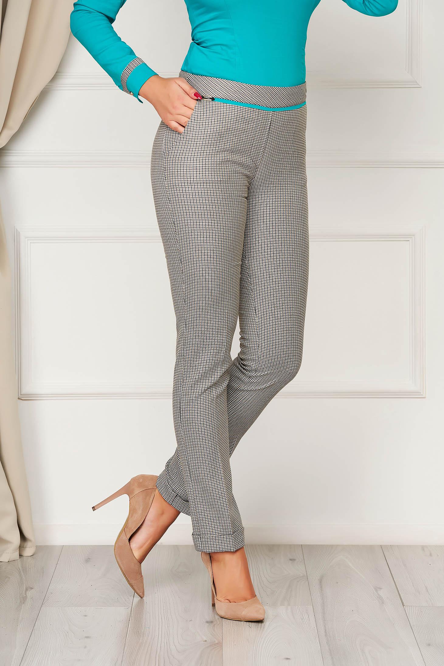 Pantaloni Fofy turcoaz office cu talie medie din stofa in carouri
