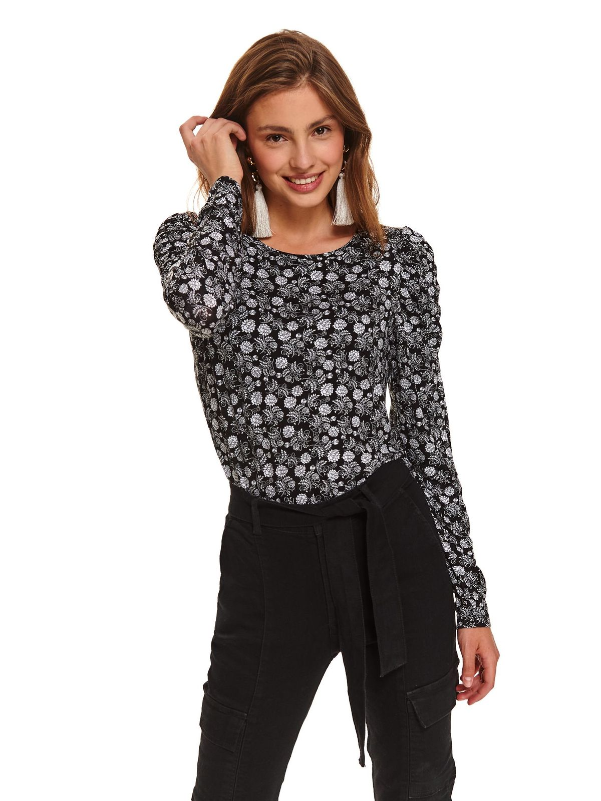 Black women`s blouse casual tented thin fabric neckline