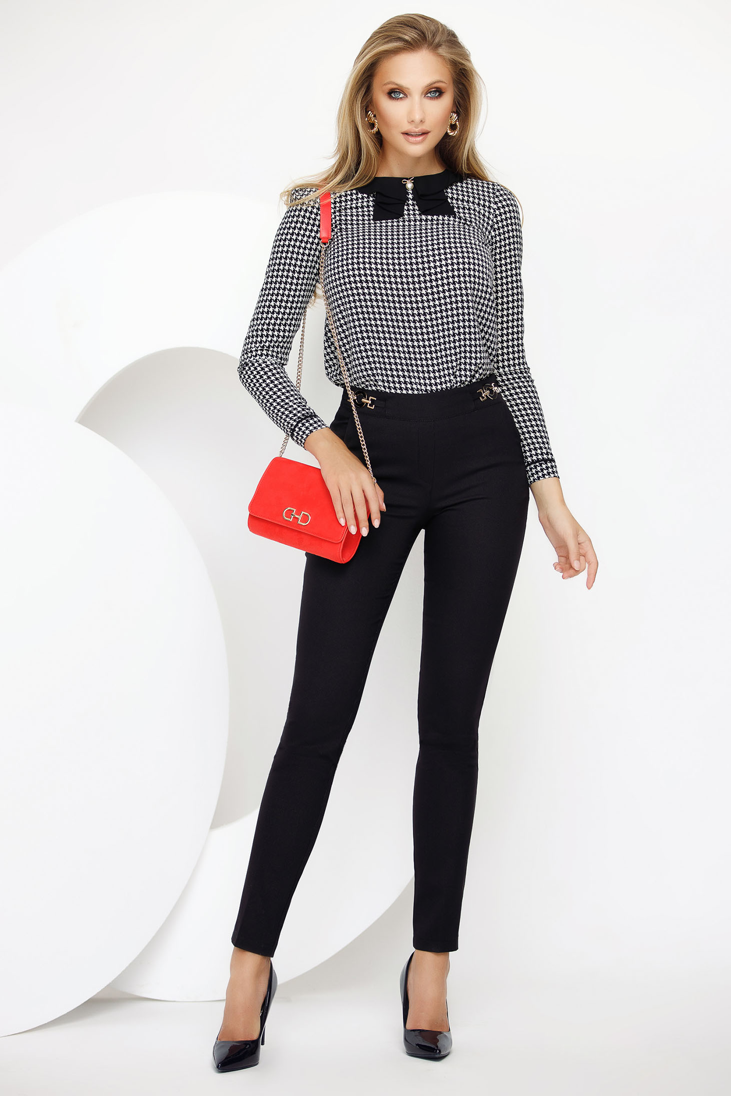 Trousers black office conical medium waist with metal accessories slightly elastic fabric