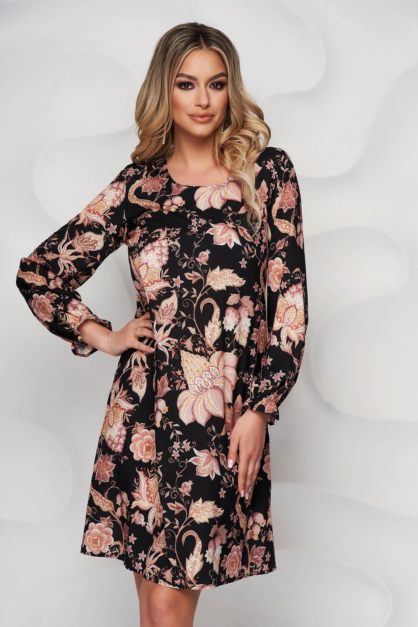 Rochie StarShinerS cu imprimeu floral scurta de zi cu croi in a din material subtire