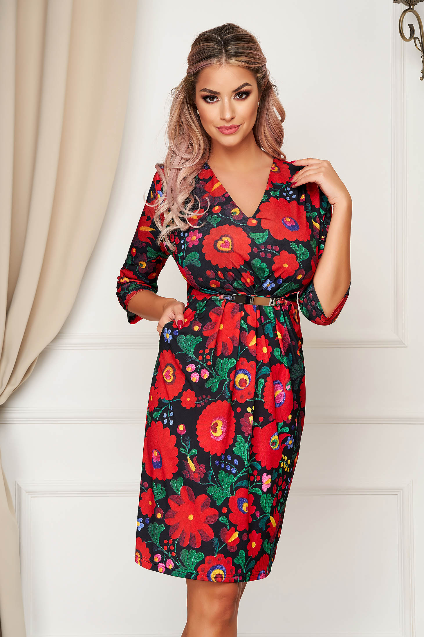 StarShinerS red dress elegant daily midi pencil accessorized with belt thin fabric