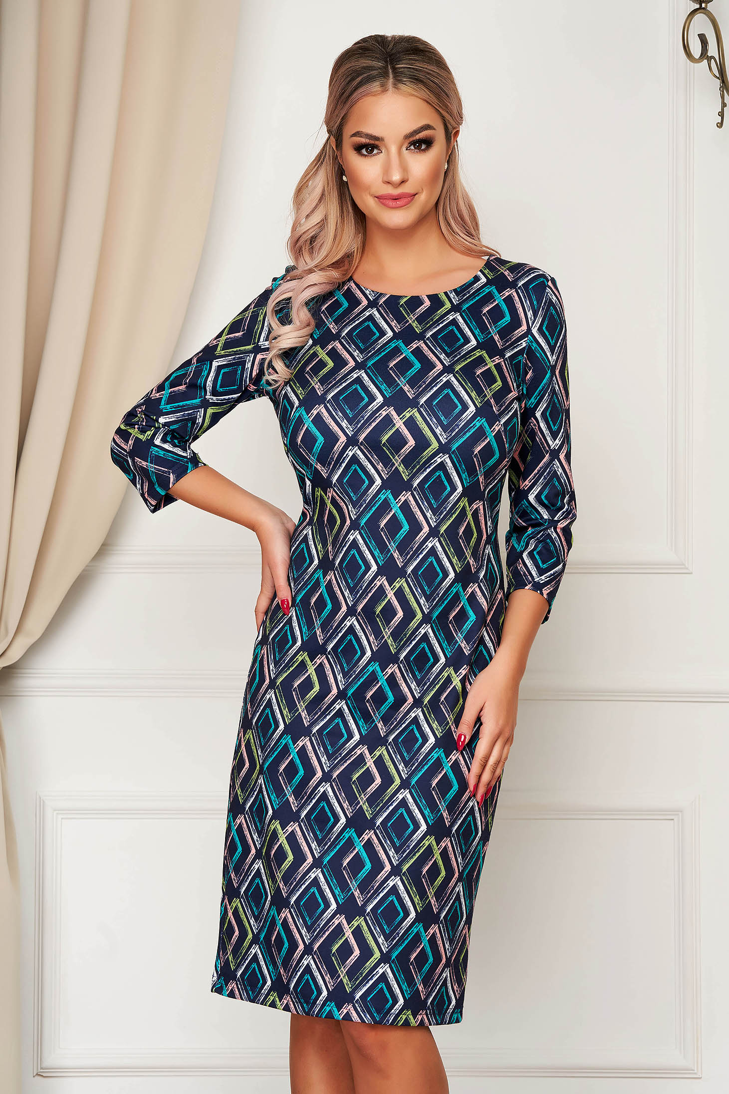 StarShinerS darkblue dress office midi 3/4 sleeve with geometrical print jersey straight