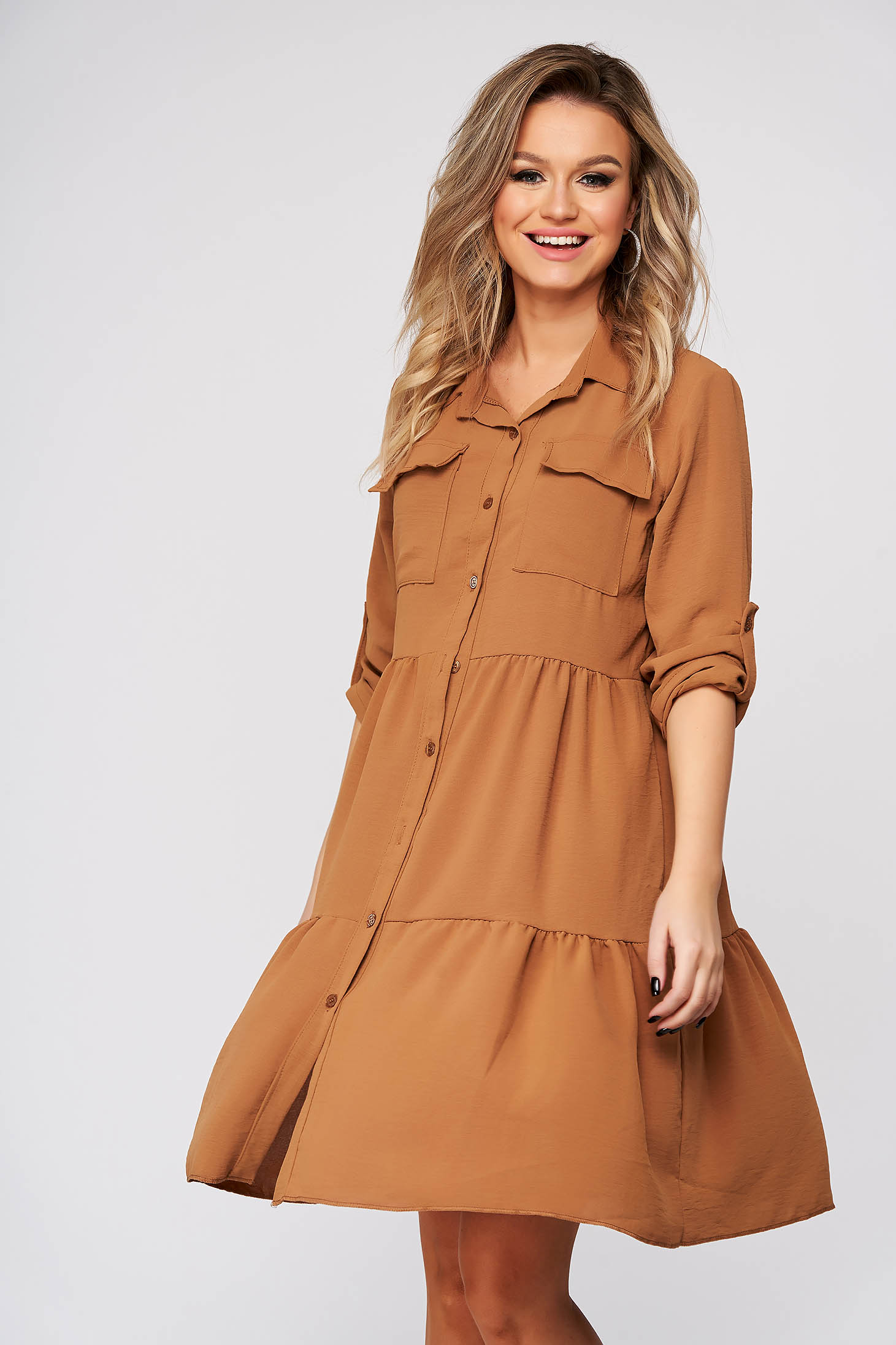 Brown dress daily flared 3/4 sleeve thin fabric