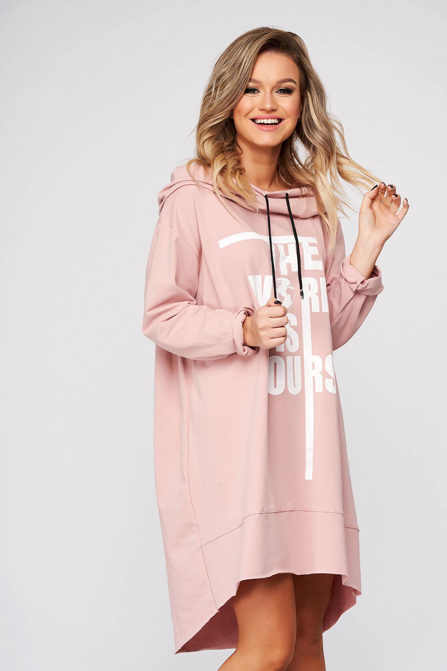 Púder rózsaszínű casual aszimetrikus bő szabású ruha rugalmatlan pamutból