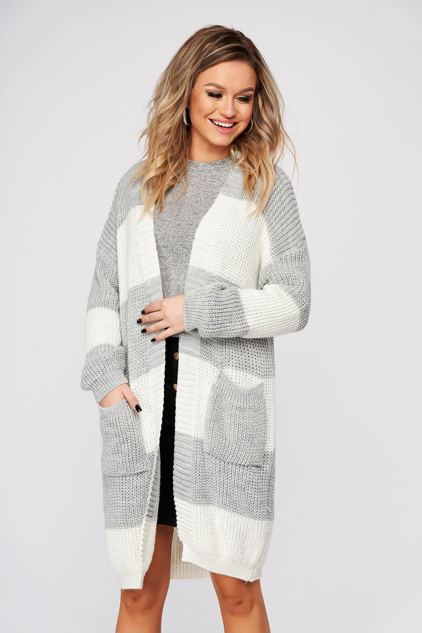 Cardigan SunShine gri casual lunga cu croi larg din material tricotat