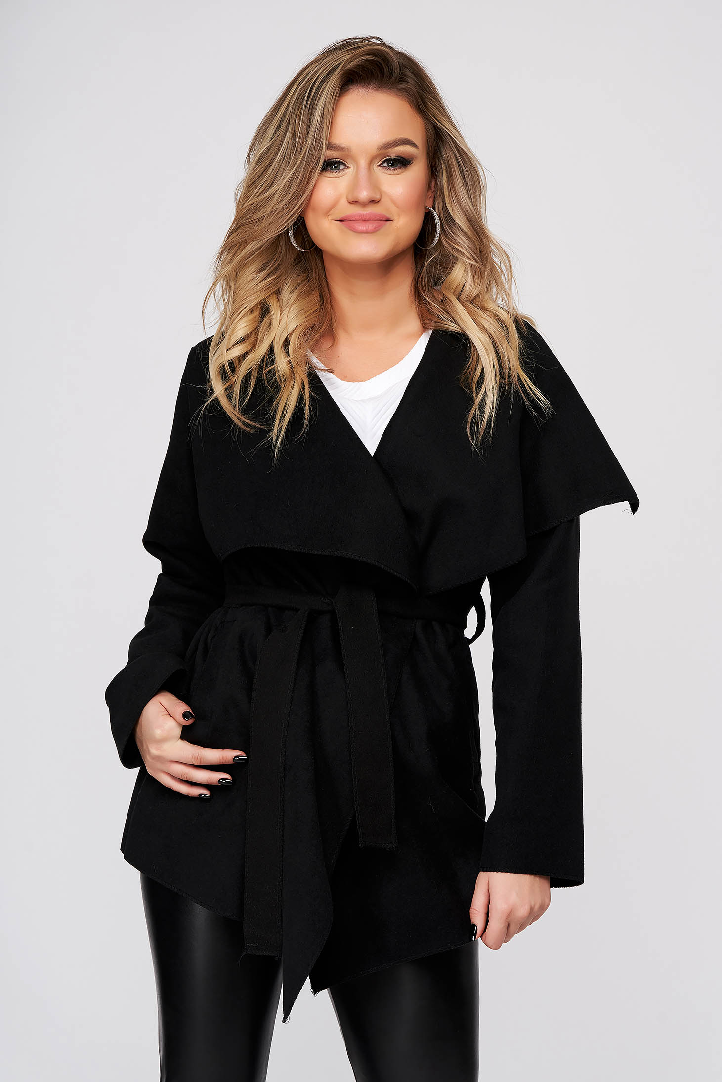 Black trenchcoat casual long sleeve from soft fabric accessorized with tied waistband