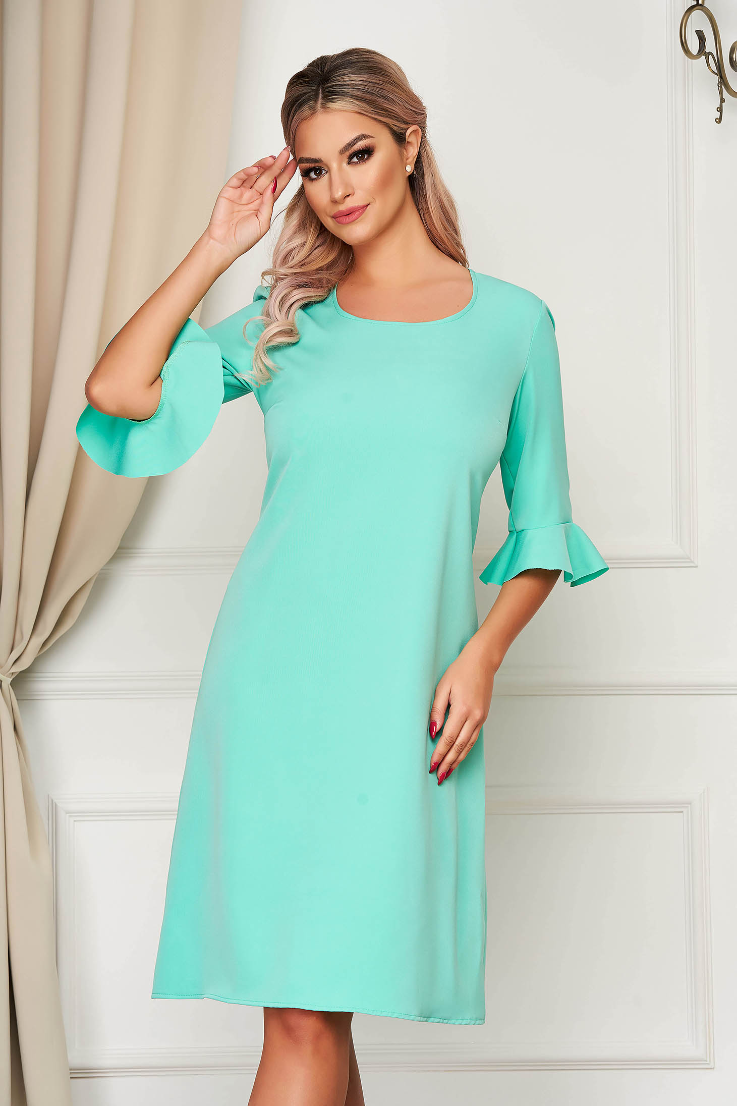 Mint dress elegant midi straight from non elastic fabric