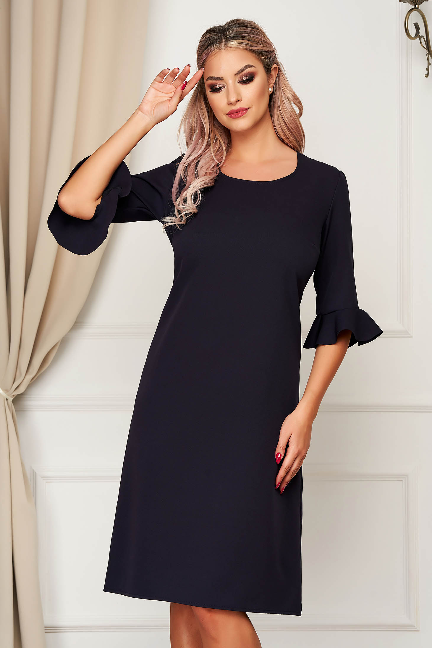 Darkblue dress elegant midi straight from non elastic fabric