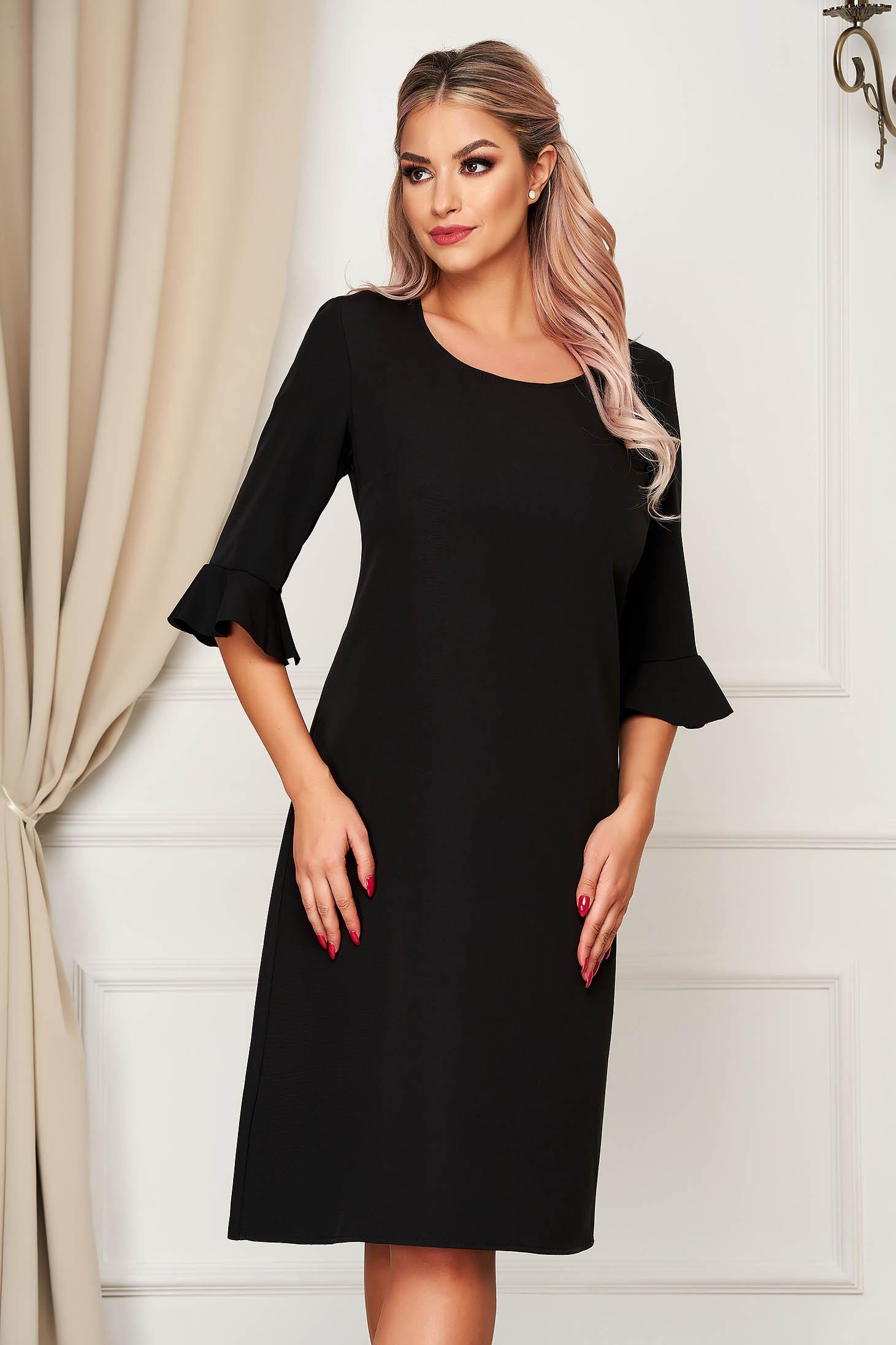 Fekete elegáns egyenes midi ruha rugalmatlan szövetből