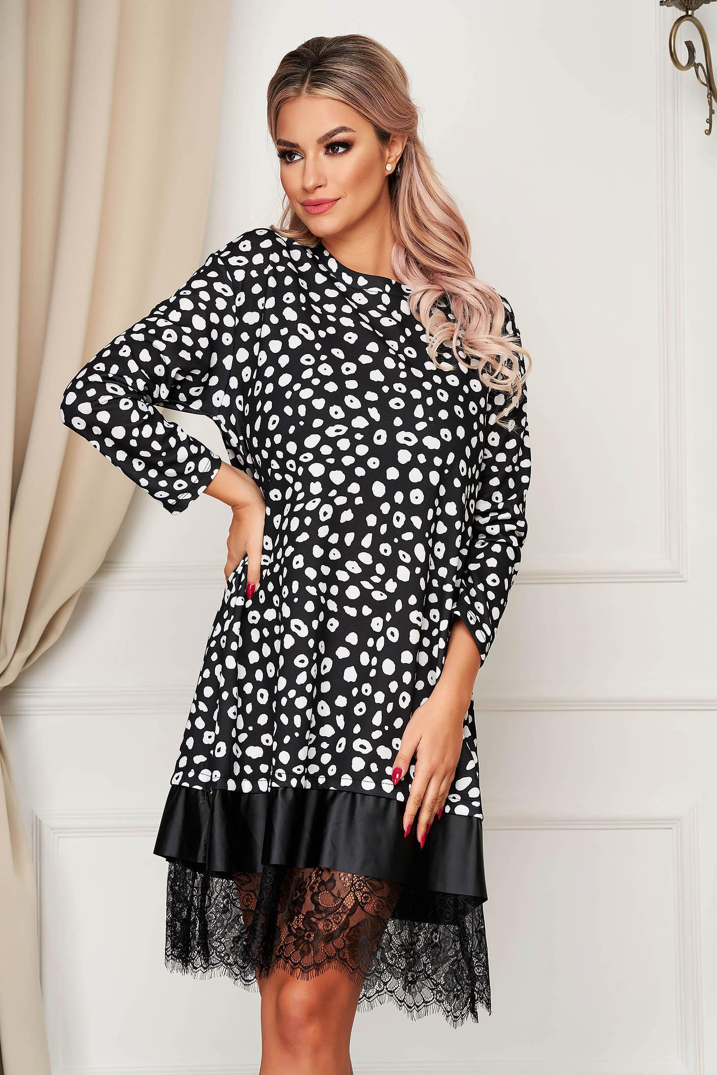 Fekete StarShinerS hétköznapi midi bő szabású ruha csipke díszítéssel