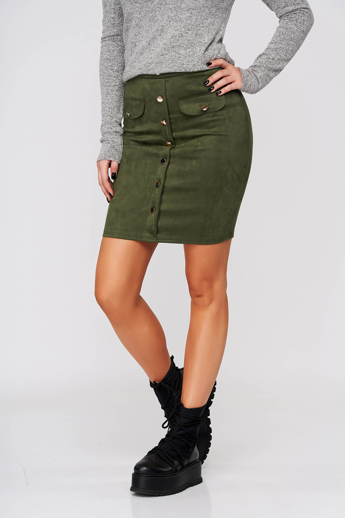 Darkgreen skirt casual short cut medium waist elastic waist with button accessories
