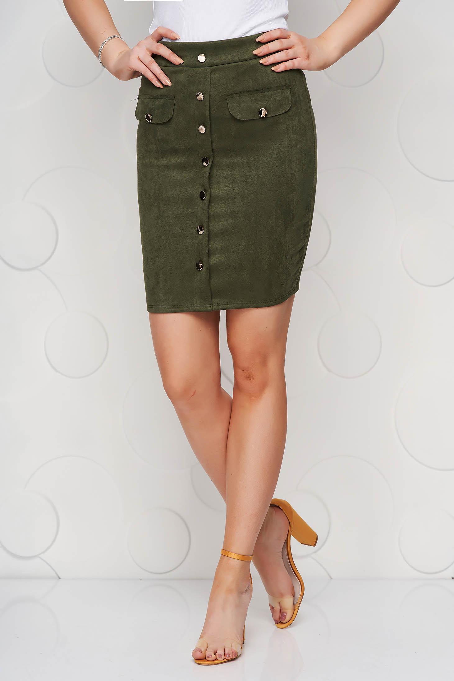 Sötétzöld casual rövid szoknya elasztikus csípővel gomb kiegészítőkkel