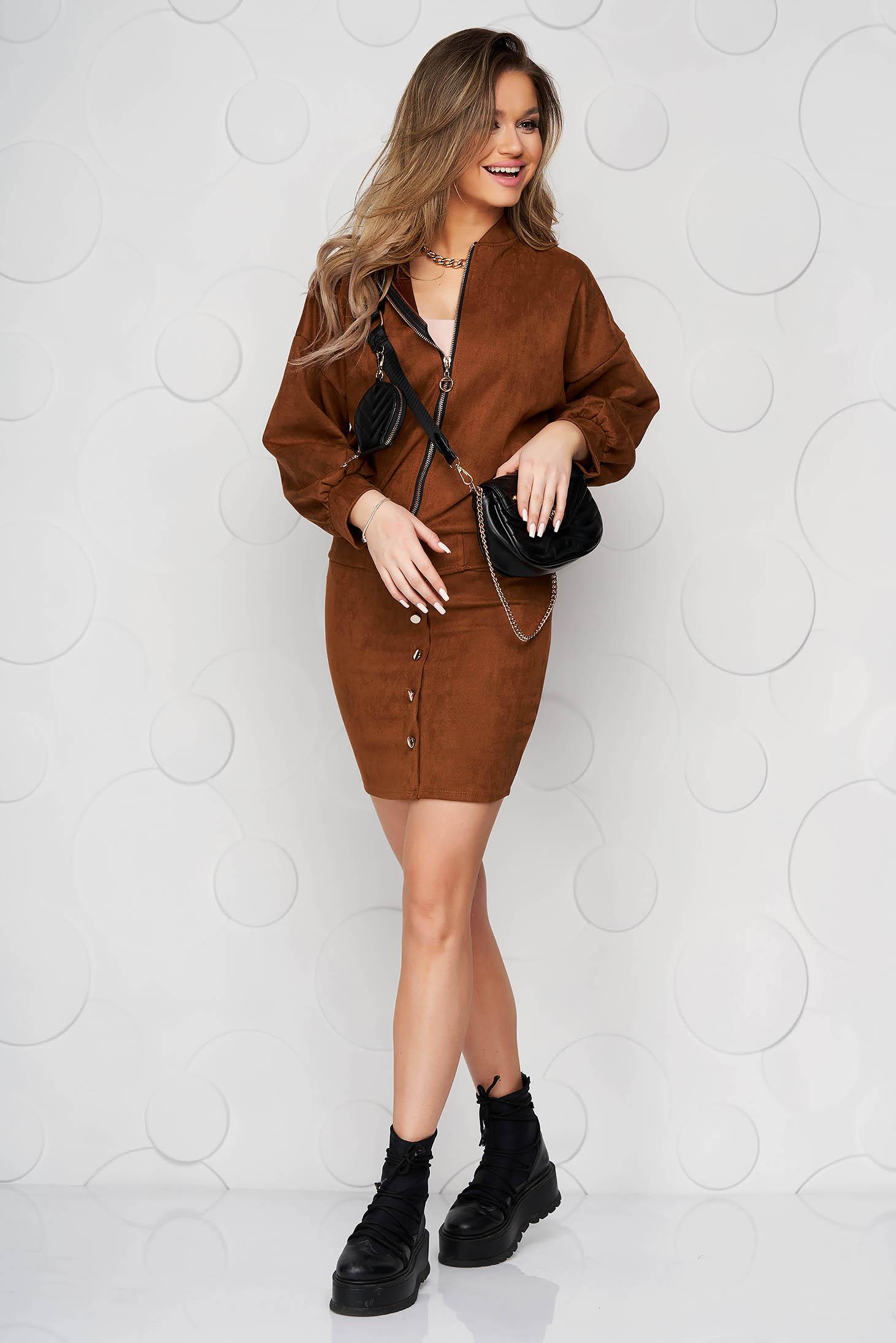 Brown skirt casual short cut medium waist elastic waist with button accessories