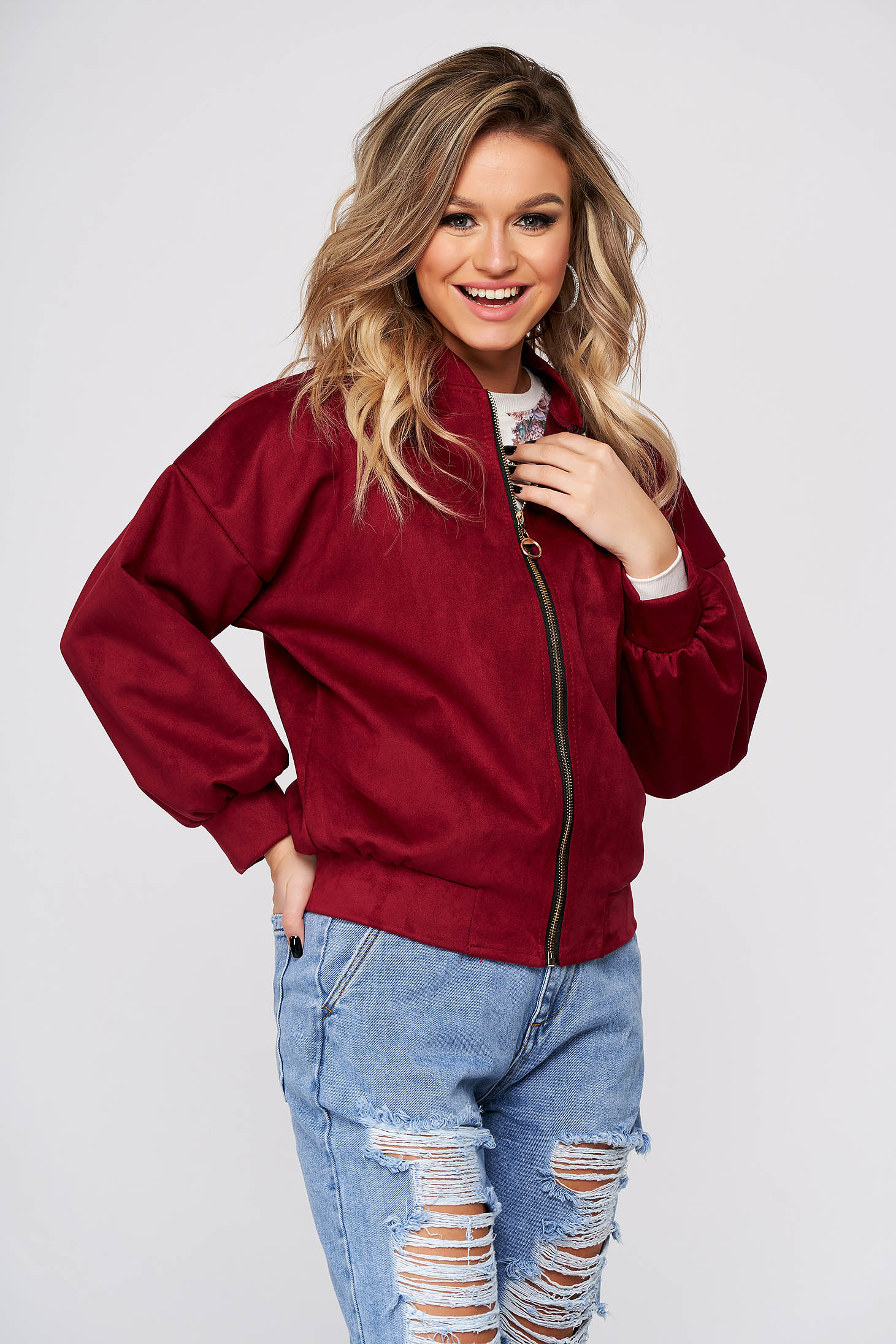 Raspberry jacket casual short cut from soft fabric