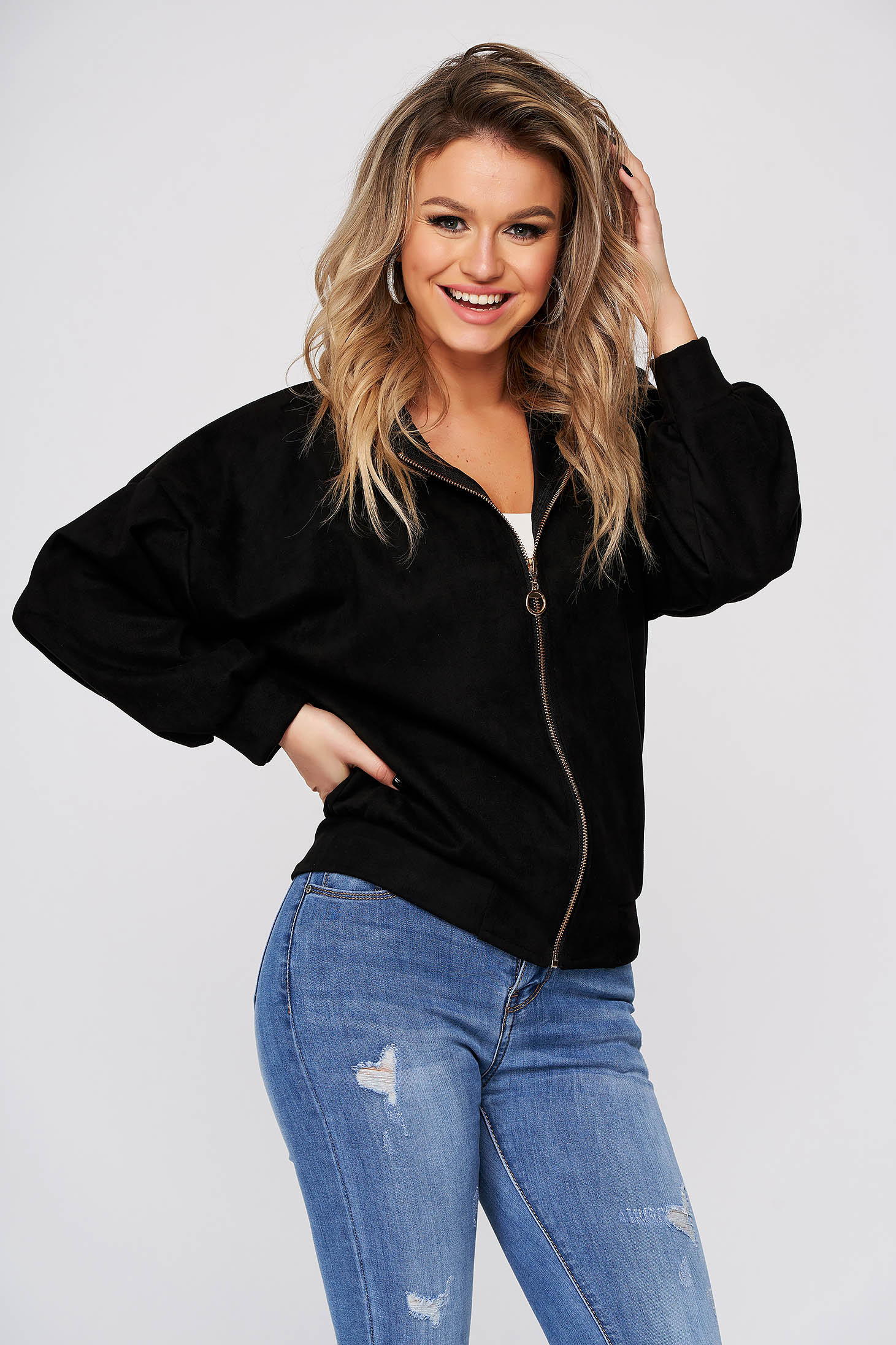 Black jacket casual short cut from soft fabric