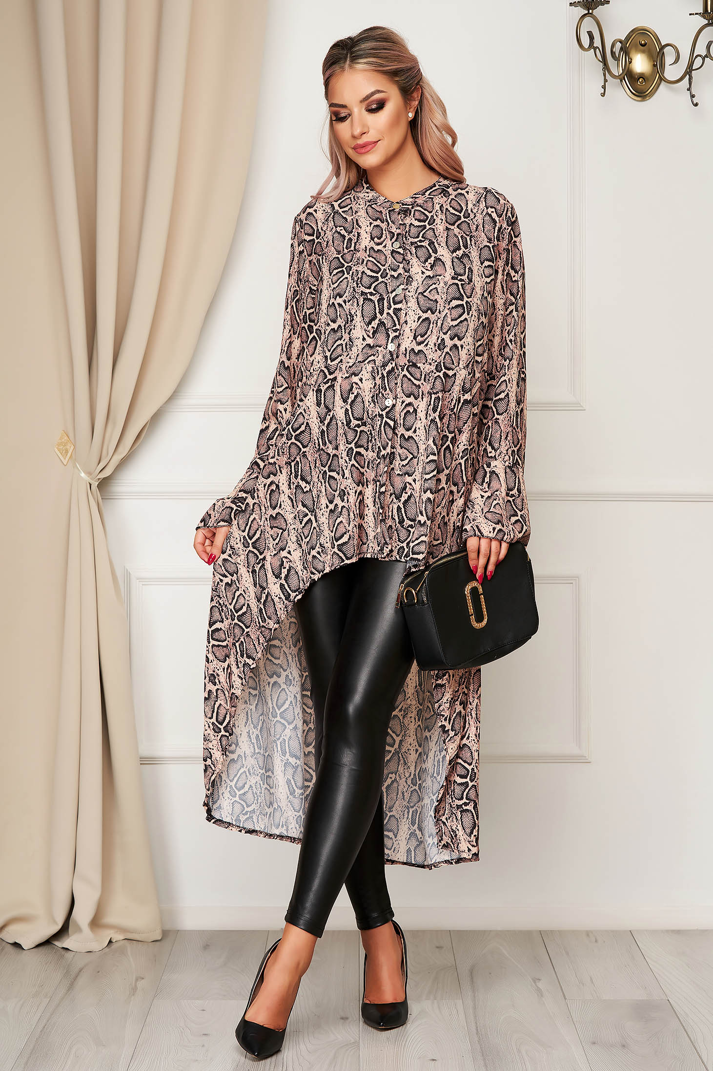 Cappuccino women`s shirt casual asymmetrical flared thin fabric animal print