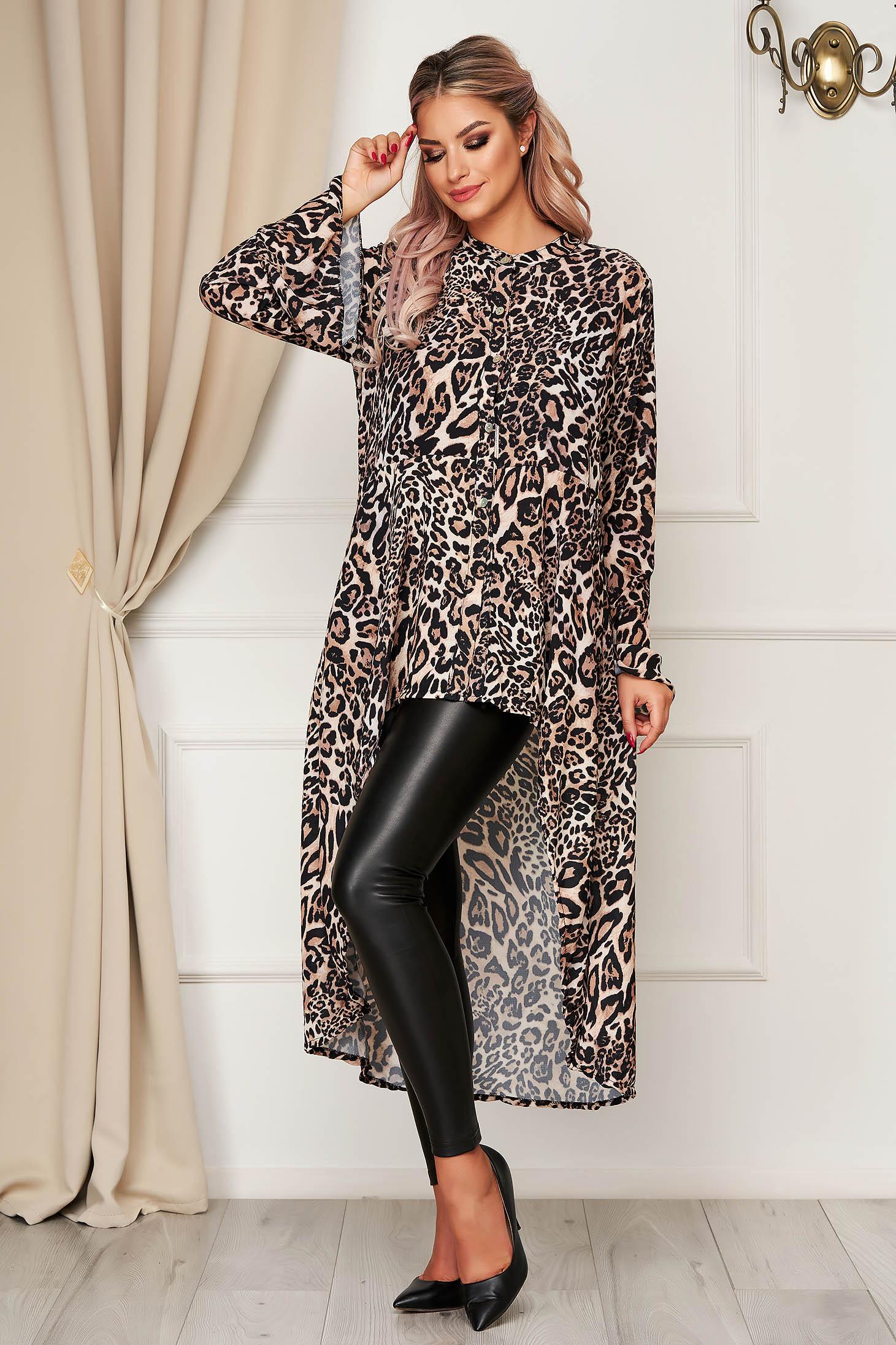 Cream women`s shirt casual asymmetrical flared thin fabric animal print