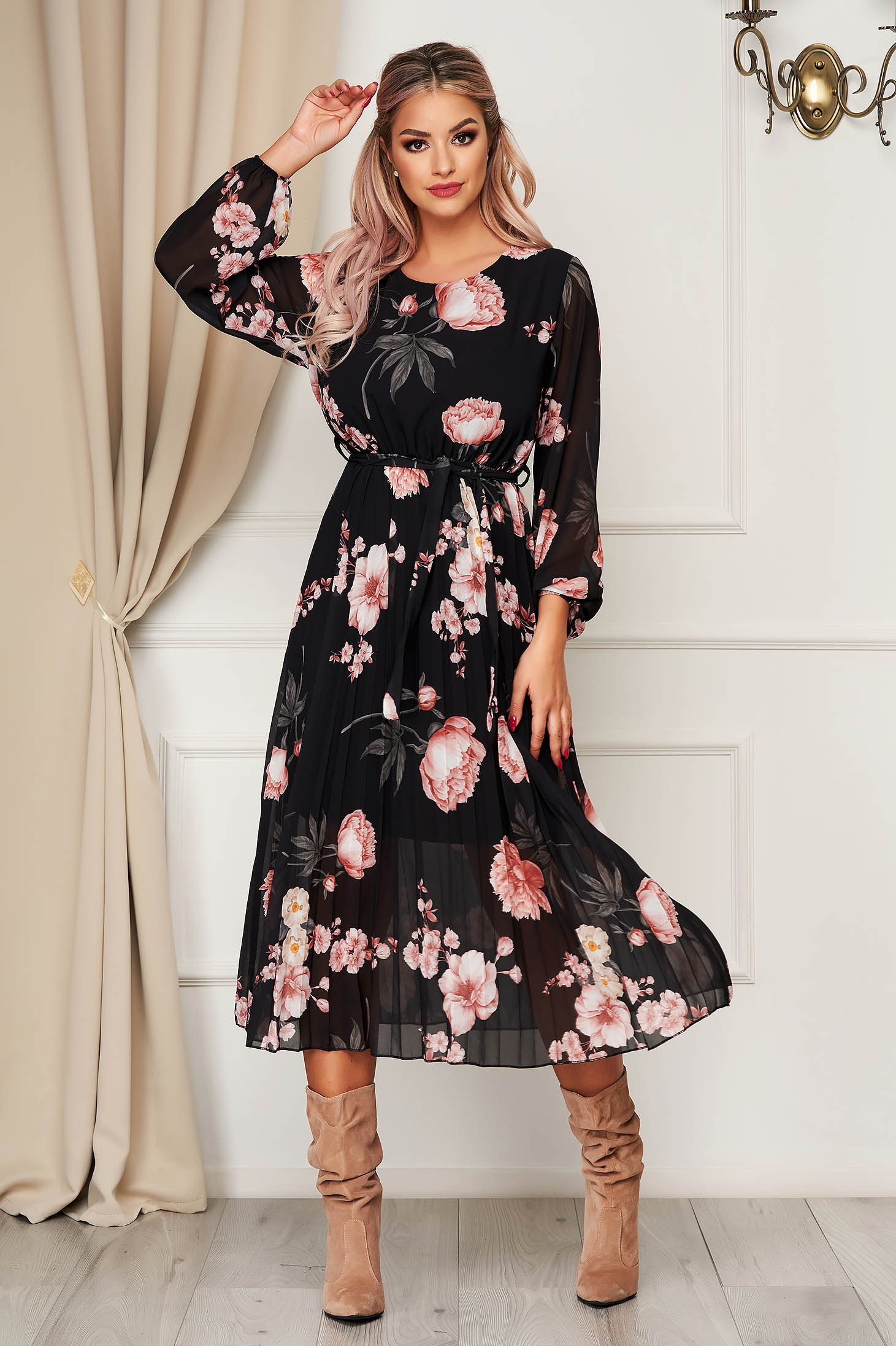 StarShinerS black dress daily cloche with elastic waist accessorized with tied waistband from veil fabric with floral prints