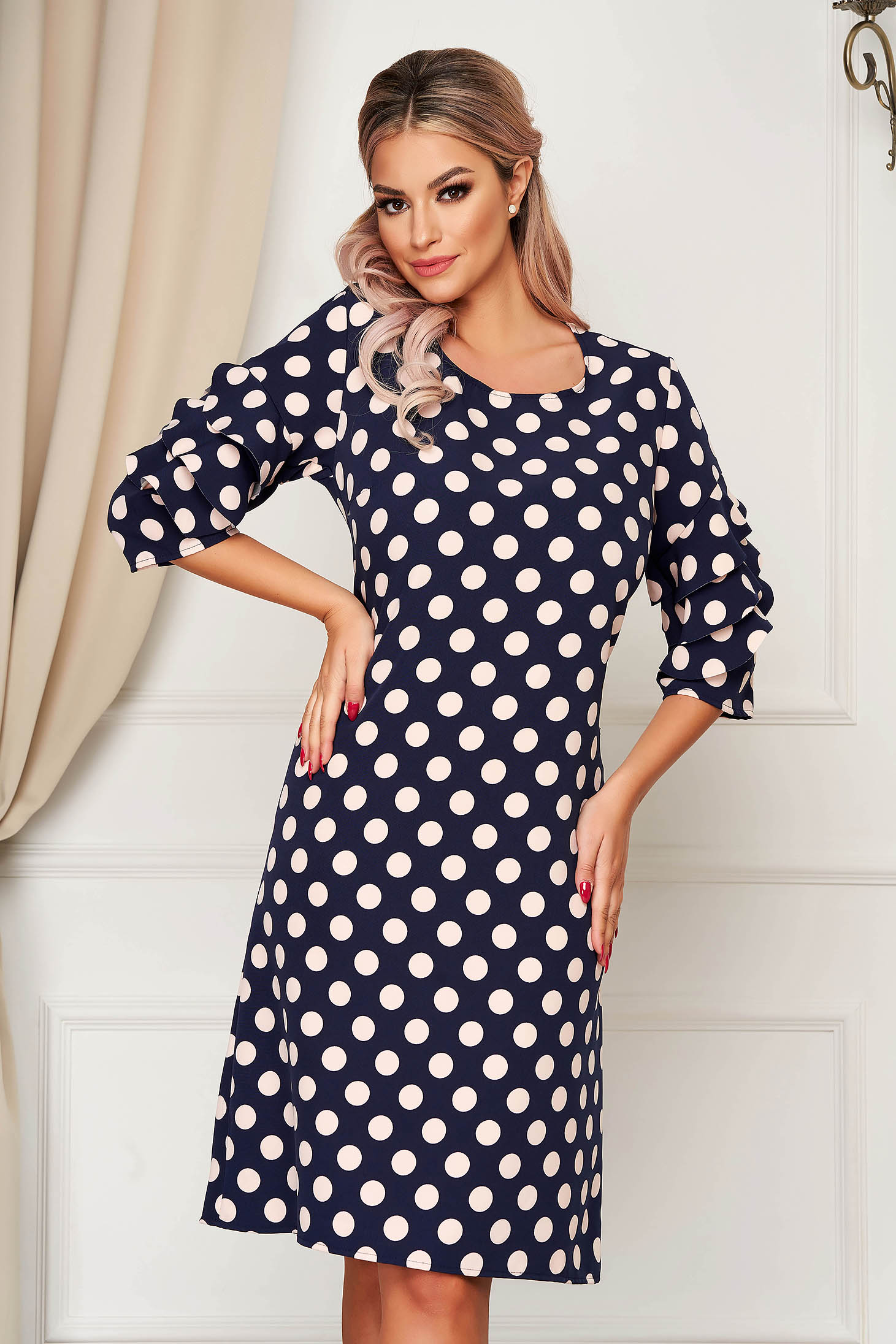 Darkblue dress midi daily thin fabric a-line with ruffled sleeves
