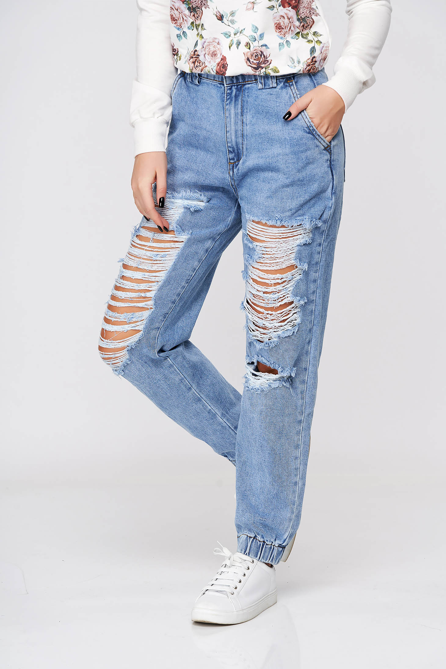 Blue jeans casual high waisted nonelastic cotton with laced details