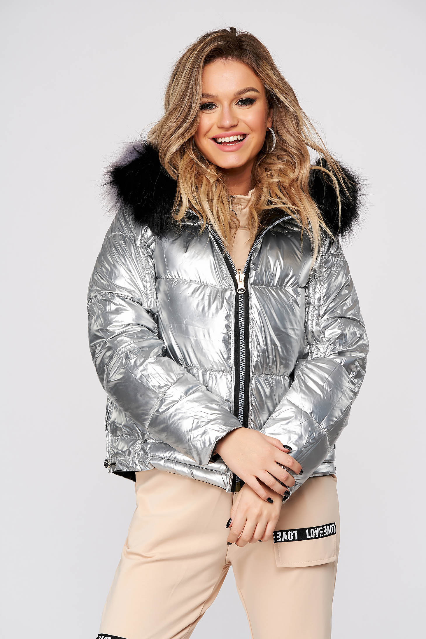 Black jacket casual from slicker fur collar double-faced
