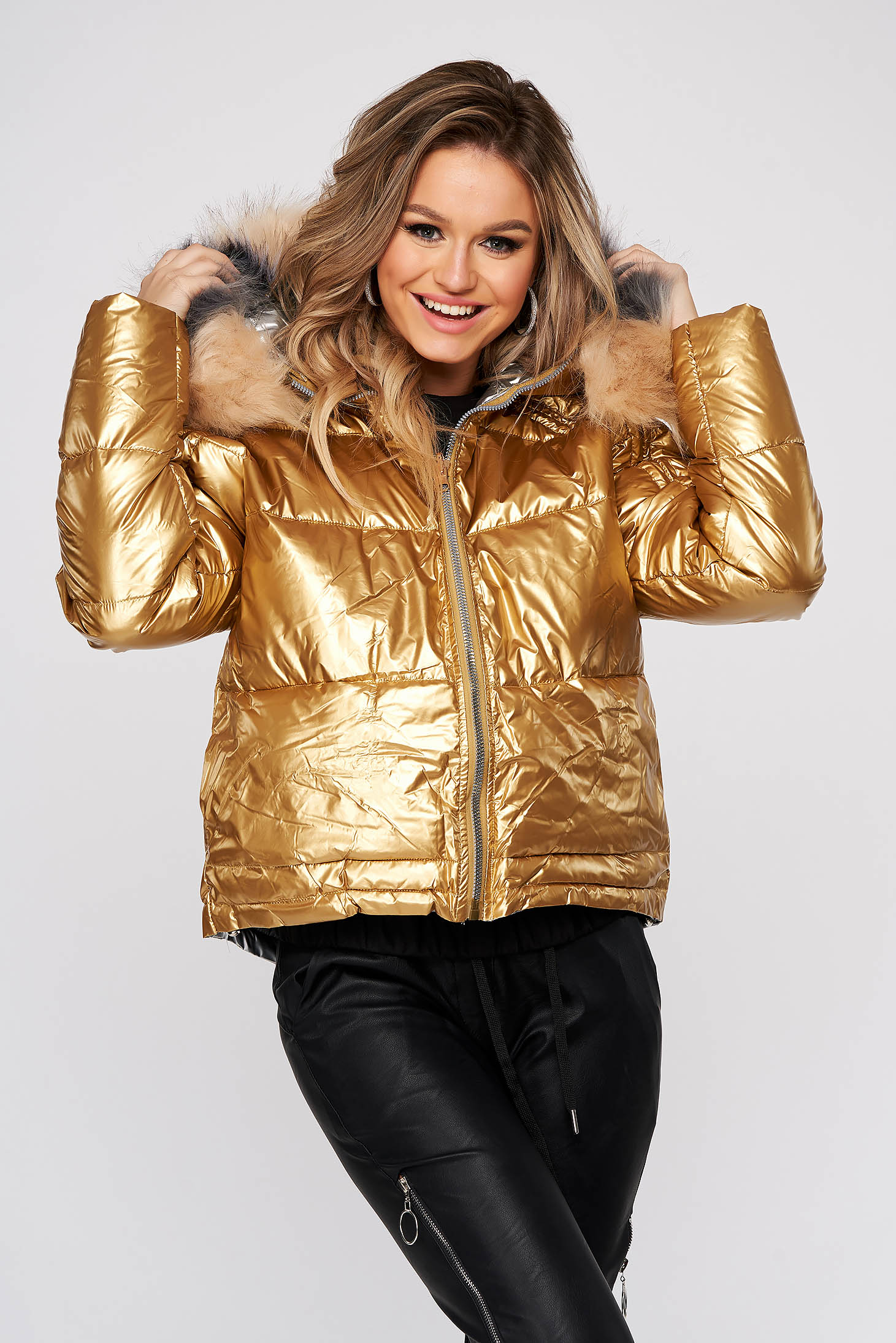 Gold jacket casual from slicker fur collar double-faced