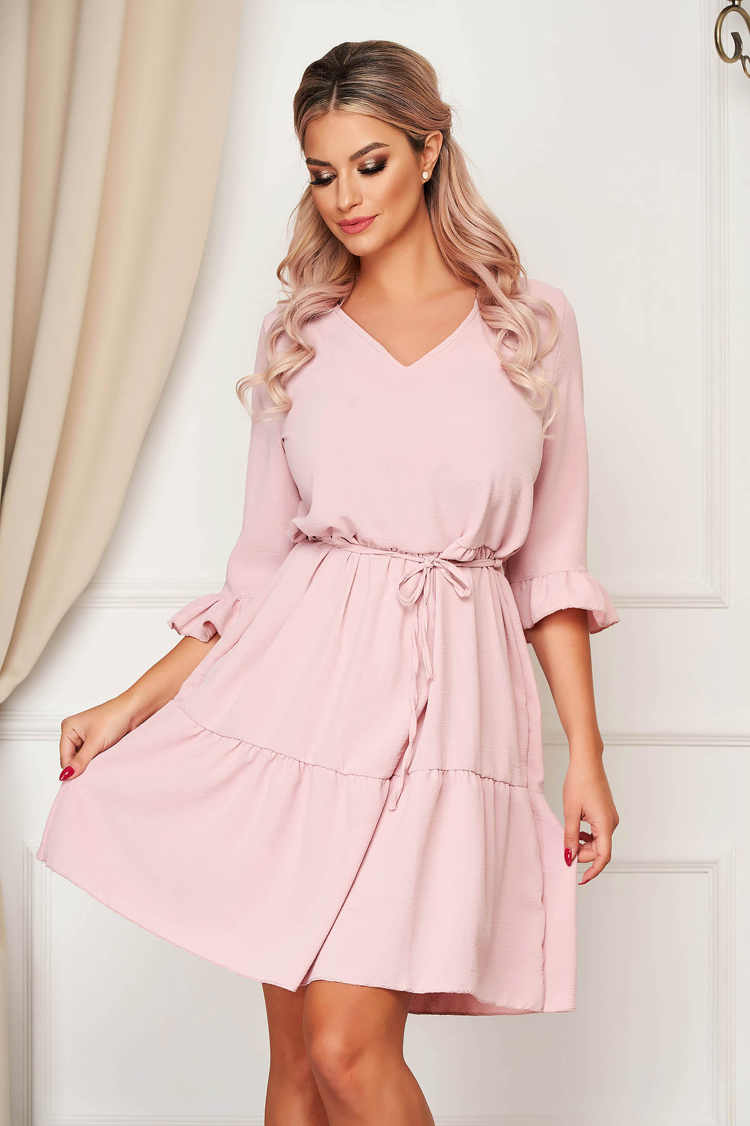 StarShinerS daily with v-neckline lightpink dress flared