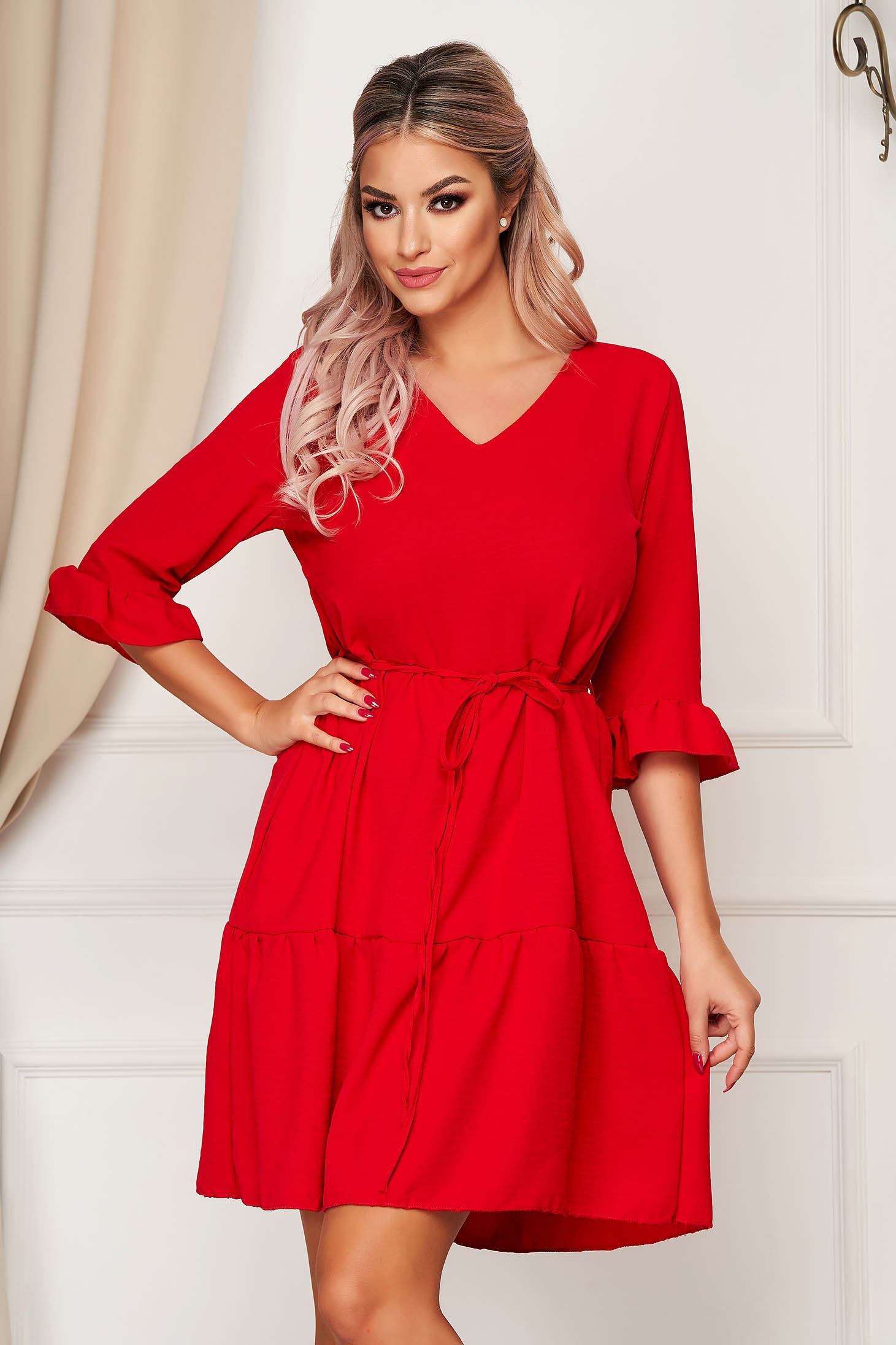 StarShinerS daily with v-neckline red dress flared