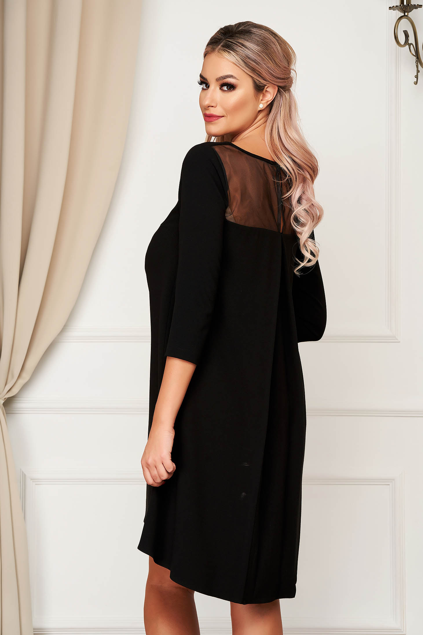 StarShinerS black dress elegant flared 3/4 sleeve from non elastic fabric