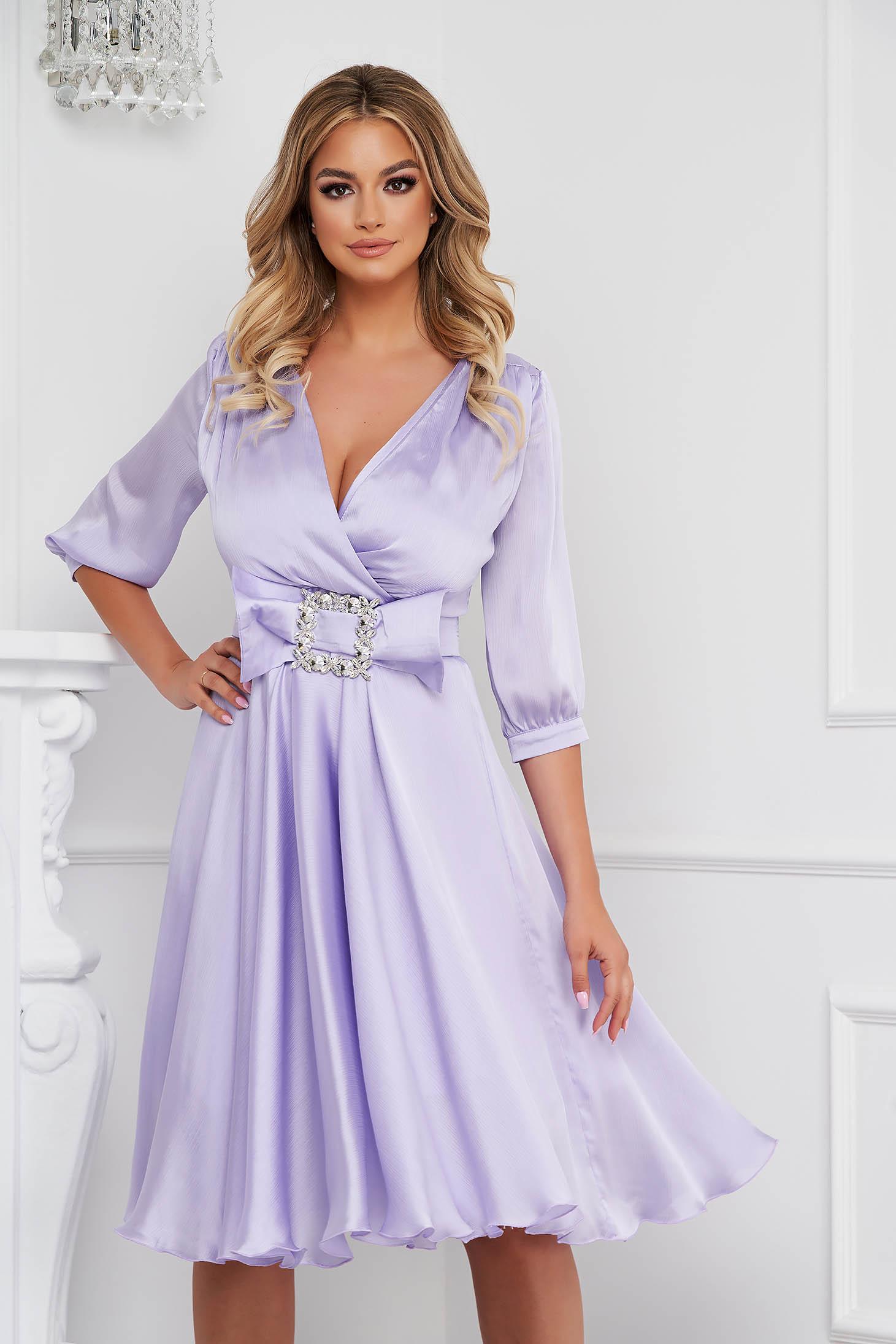 Lila dress elegant midi cloche from satin buckle accessory
