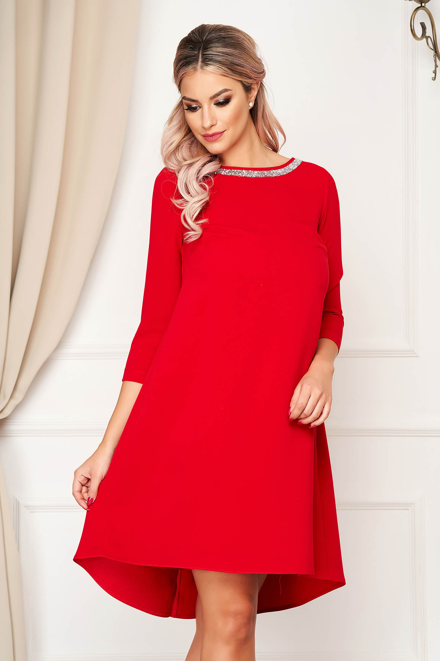 Elegant dress short cut red StarShinerS cloth with 3/4 sleeves