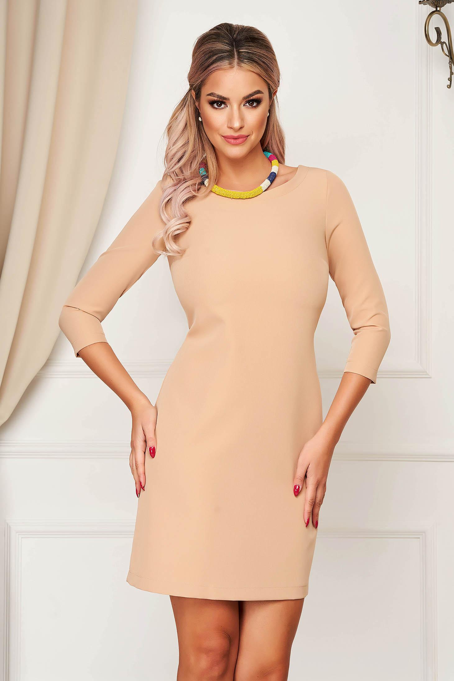 Dress StarShinerS cream elegant short cut straight slightly elastic fabric