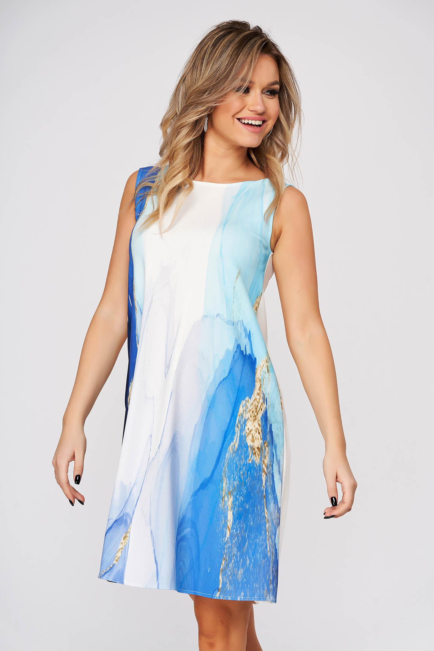 Kék StarShinerS hétköznapi rövid bő szabású ruha enyhén rugalmas szövetből