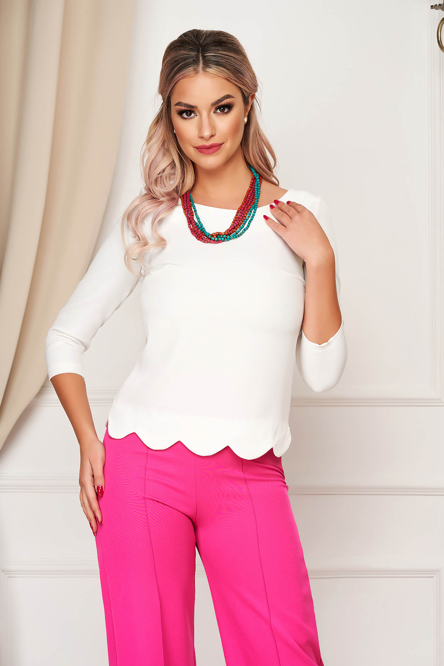 StarShinerS white women`s blouse office short cut tented from elastic fabric with 3/4 sleeves