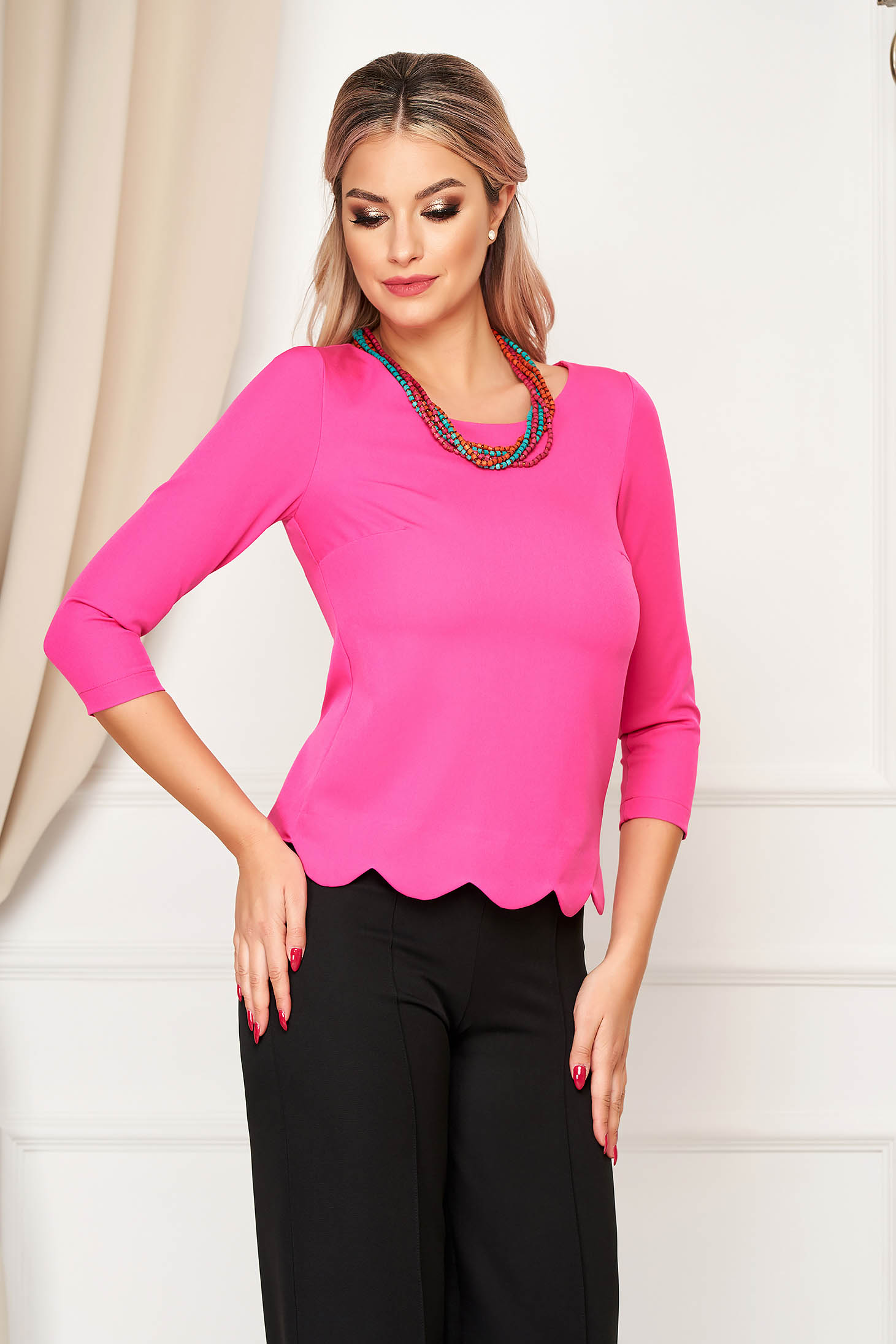 StarShinerS pink women`s blouse office short cut tented from elastic fabric with 3/4 sleeves