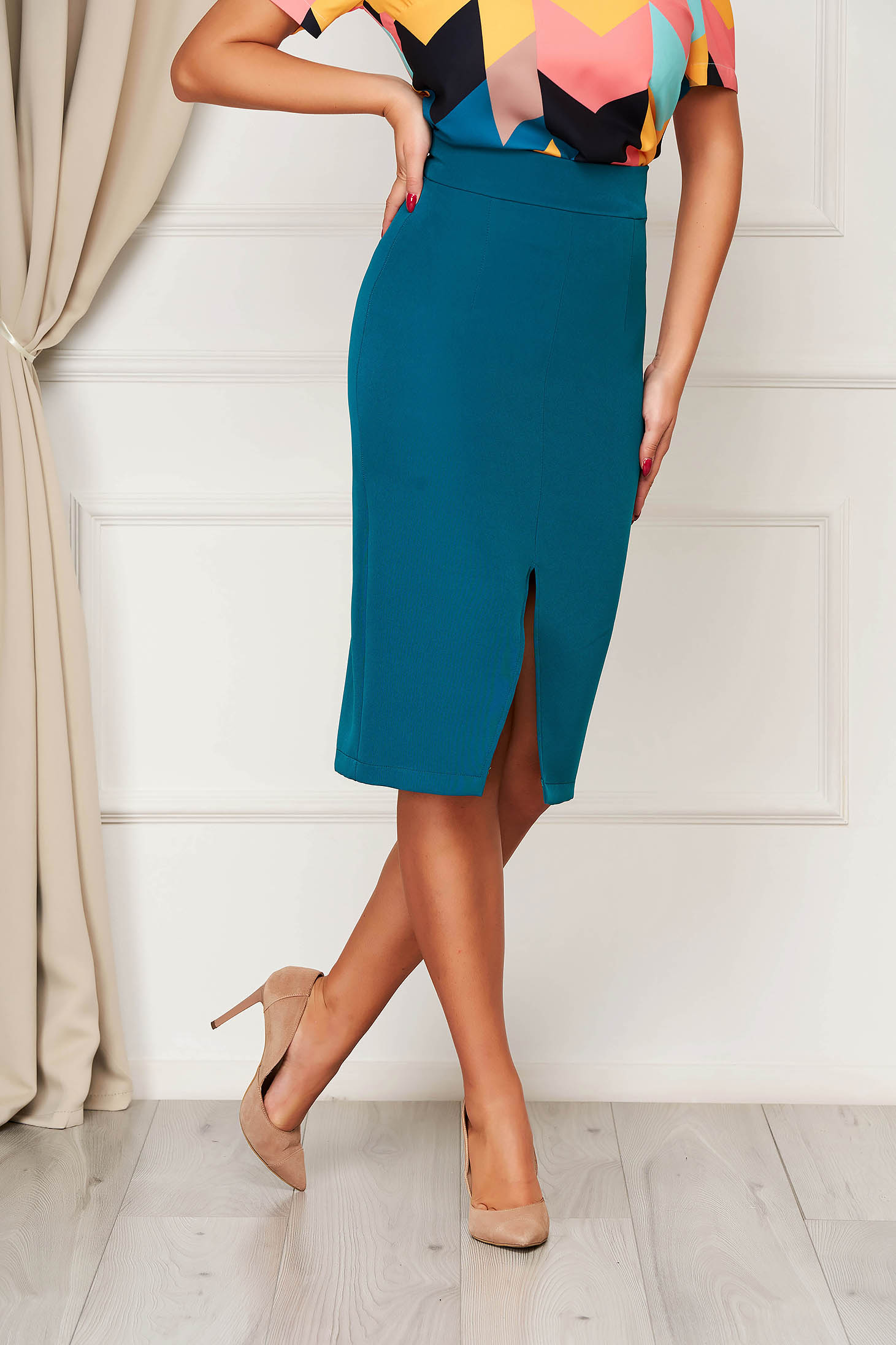 StarShinerS dirty green high waisted pencil skirt midi cloth