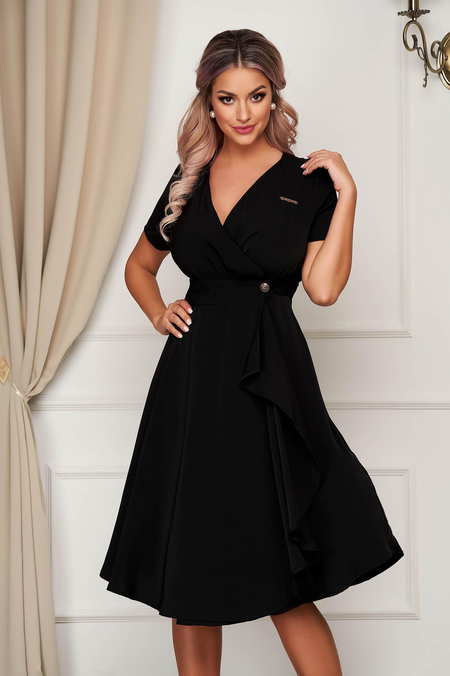 Black dress midi daily thin fabric cloche with v-neckline