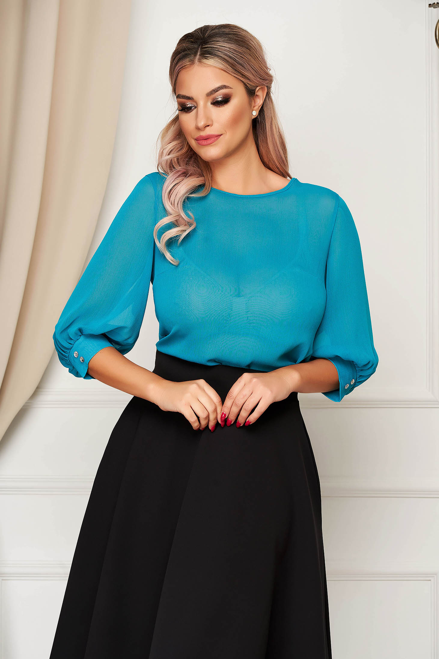 Green elegant StarShinerS women`s blouse from veil fabric flared with 3/4 sleeves