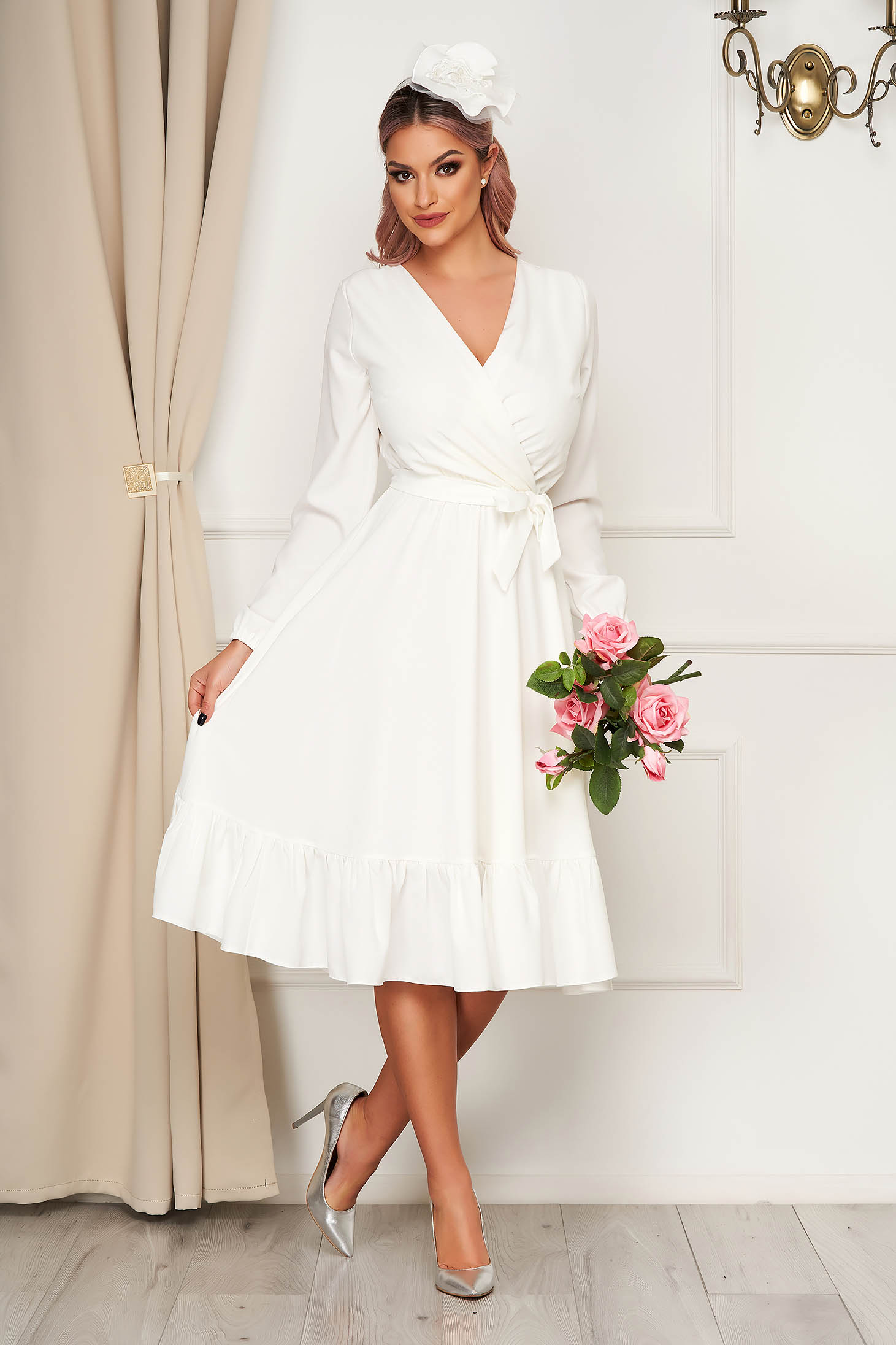 Dress StarShinerS white elegant midi wrap over front with elastic waist accessorized with tied waistband