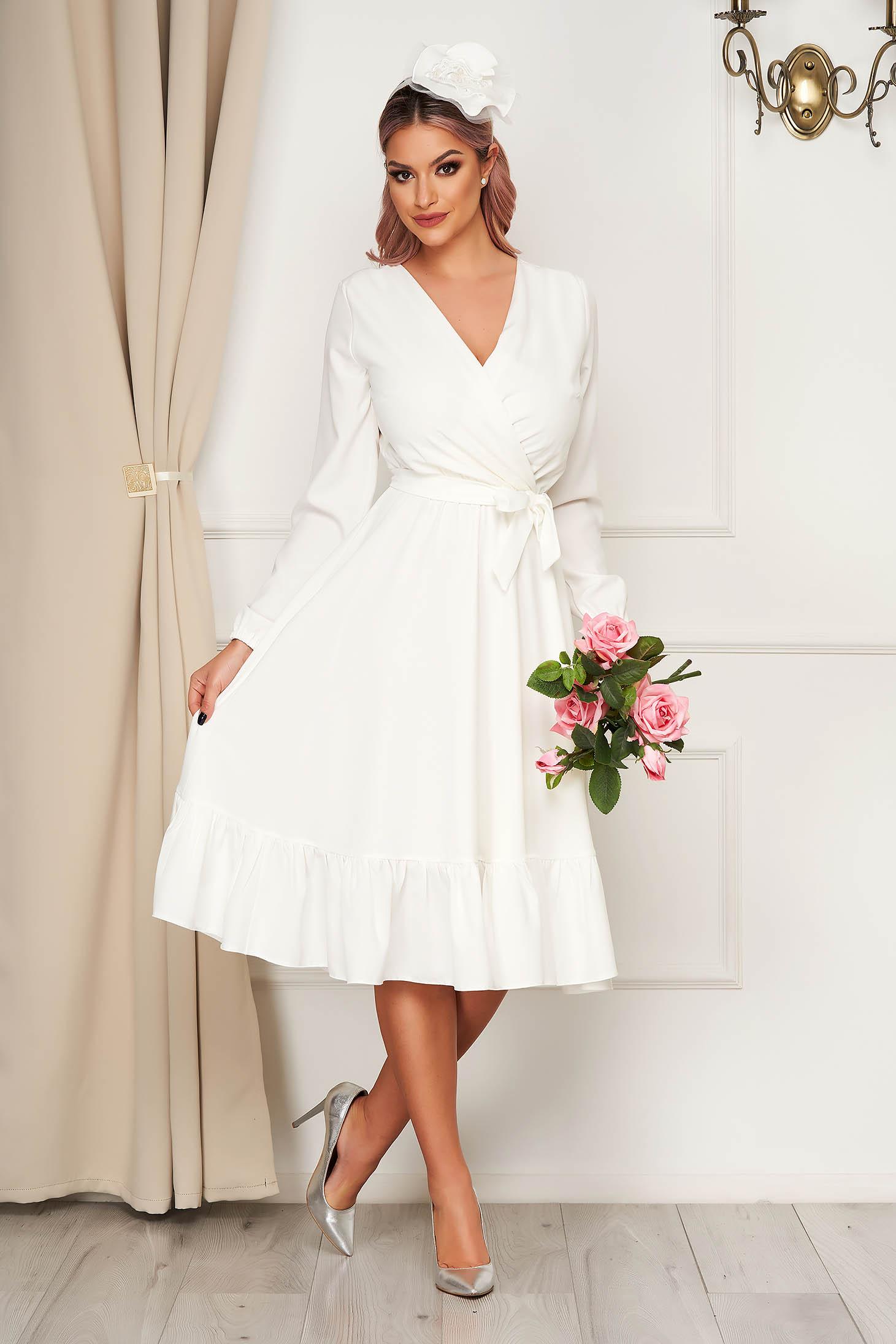 StarShinerS fehér elegáns midi ruha gumírozott derekú övvel ellátva