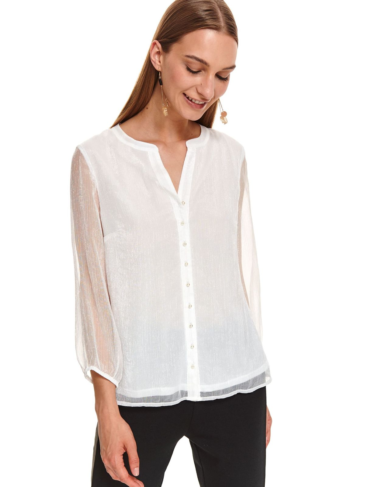 White women`s blouse casual flared long sleeved transparent sleeves