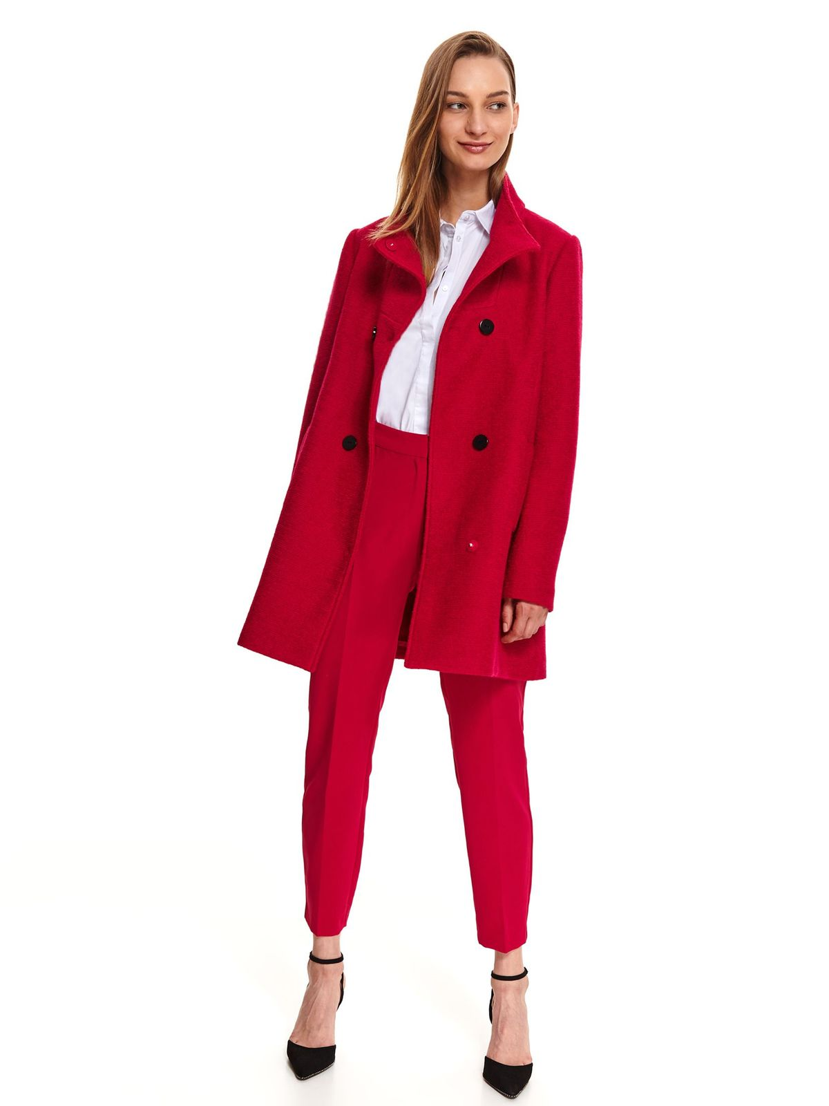 Red coat casual straight long sleeve from thick fabric