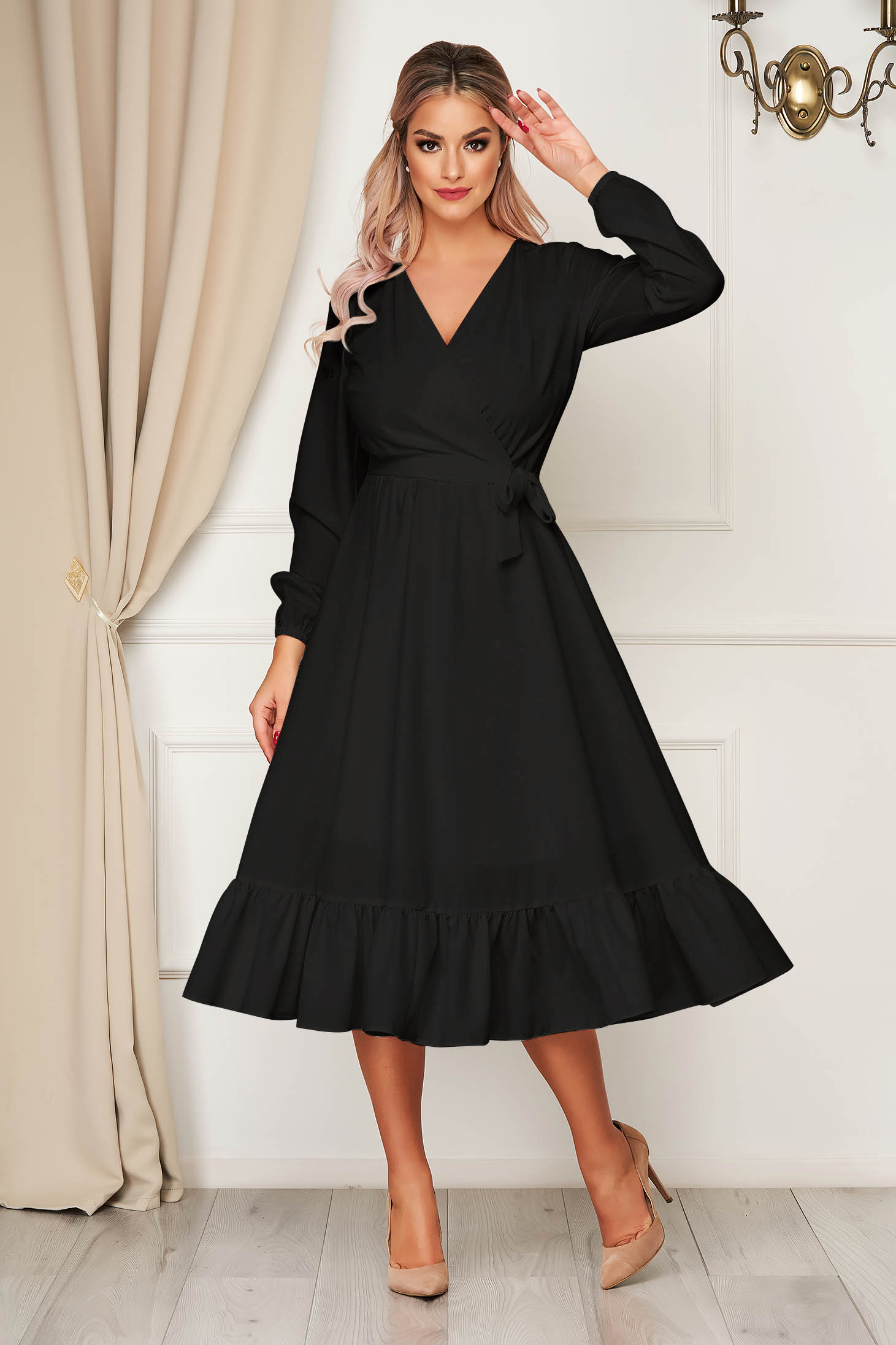 Dress StarShinerS black elegant midi wrap over front with elastic waist accessorized with tied waistband