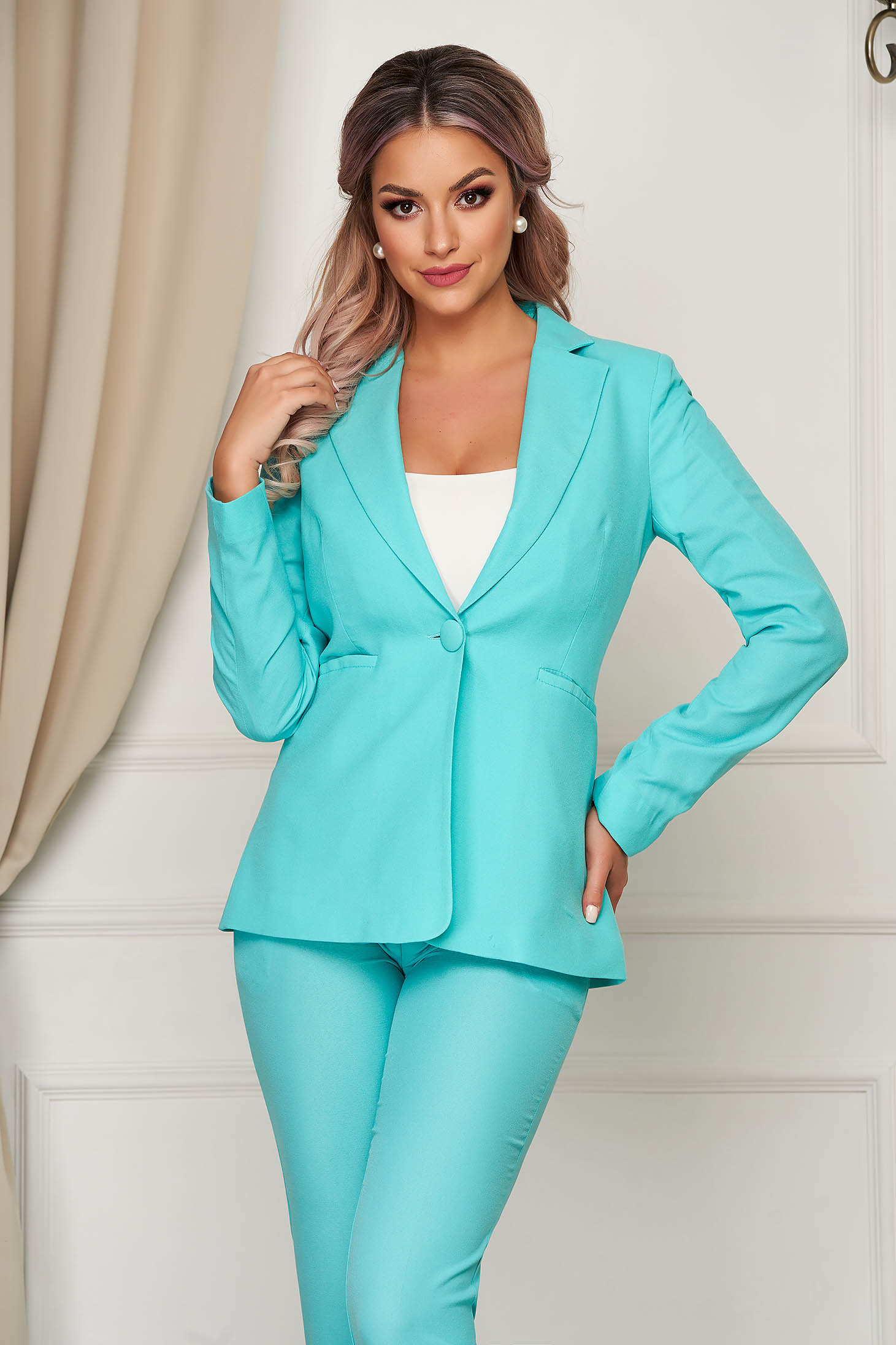 Turquoise jacket office arched cut slightly elastic fabric