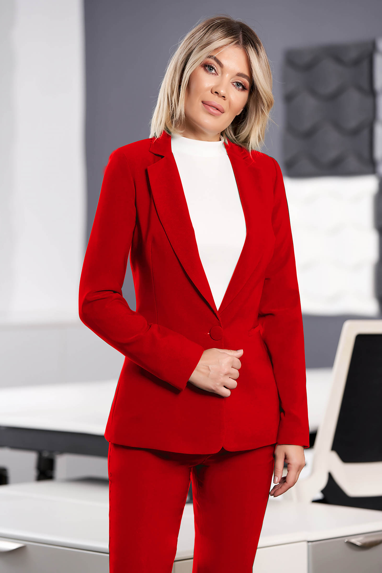 Red jacket office arched cut slightly elastic fabric