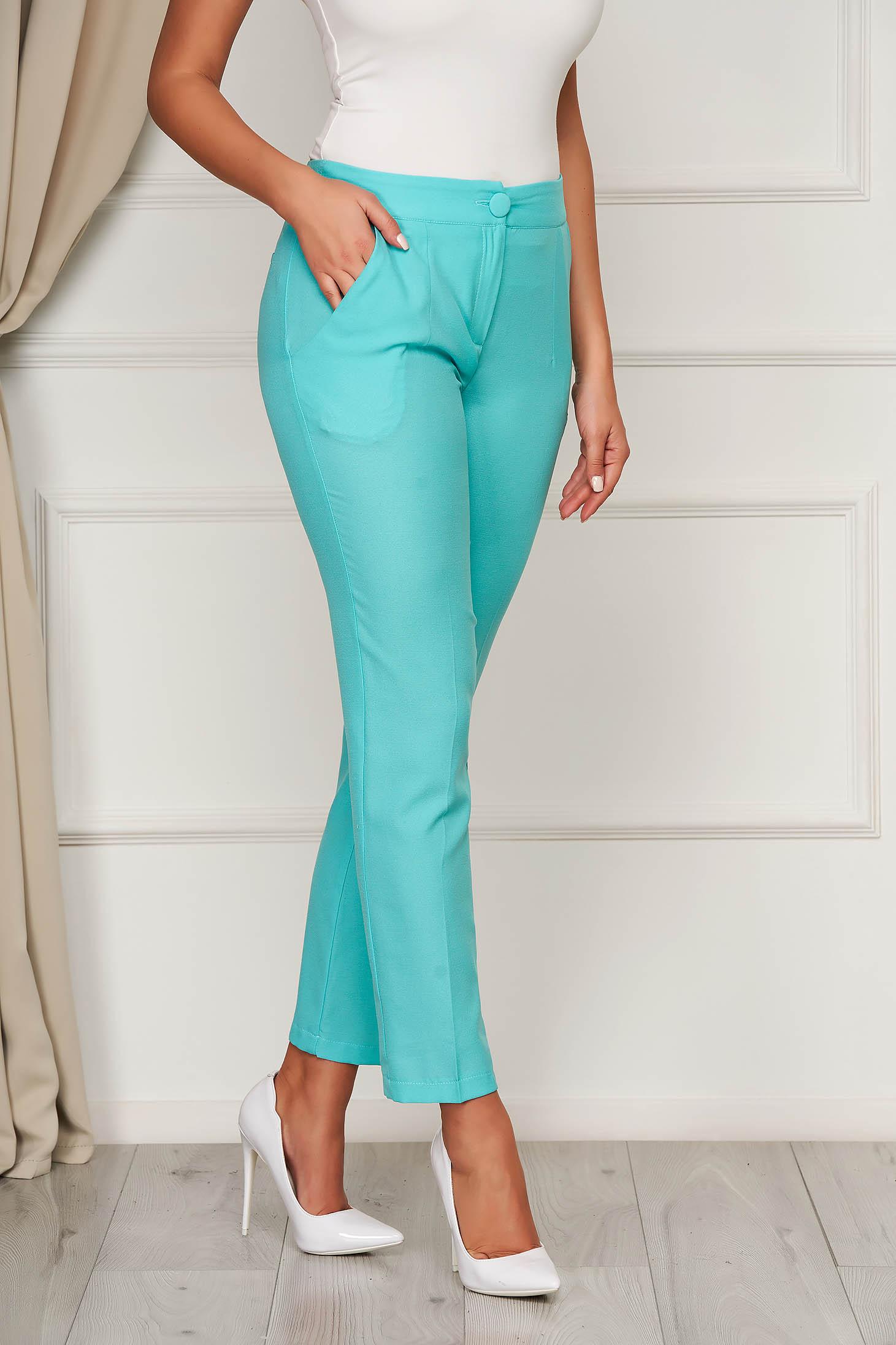 Trousers turquoise office cloth medium waist straight