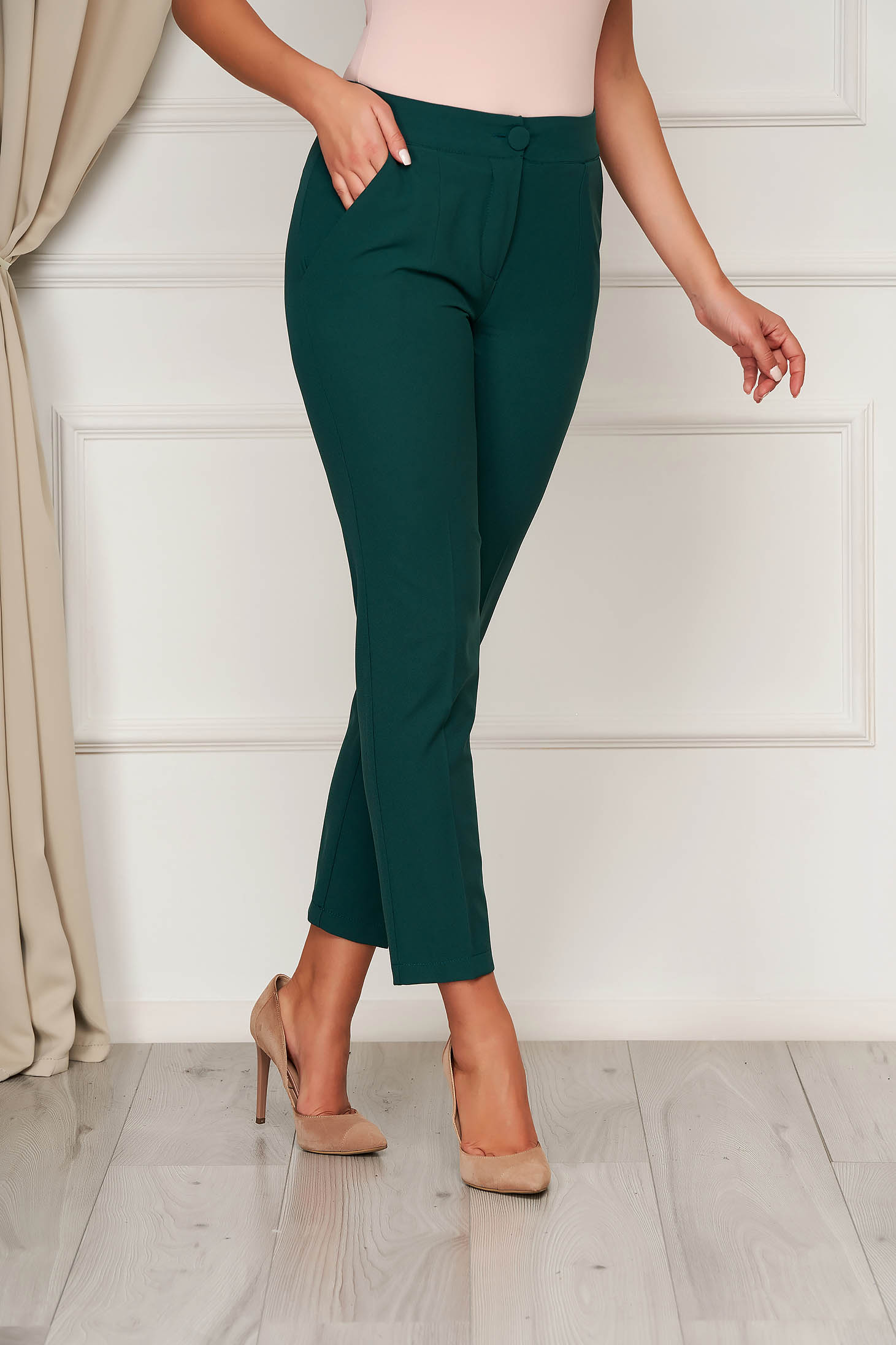 Trousers darkgreen office cloth medium waist straight