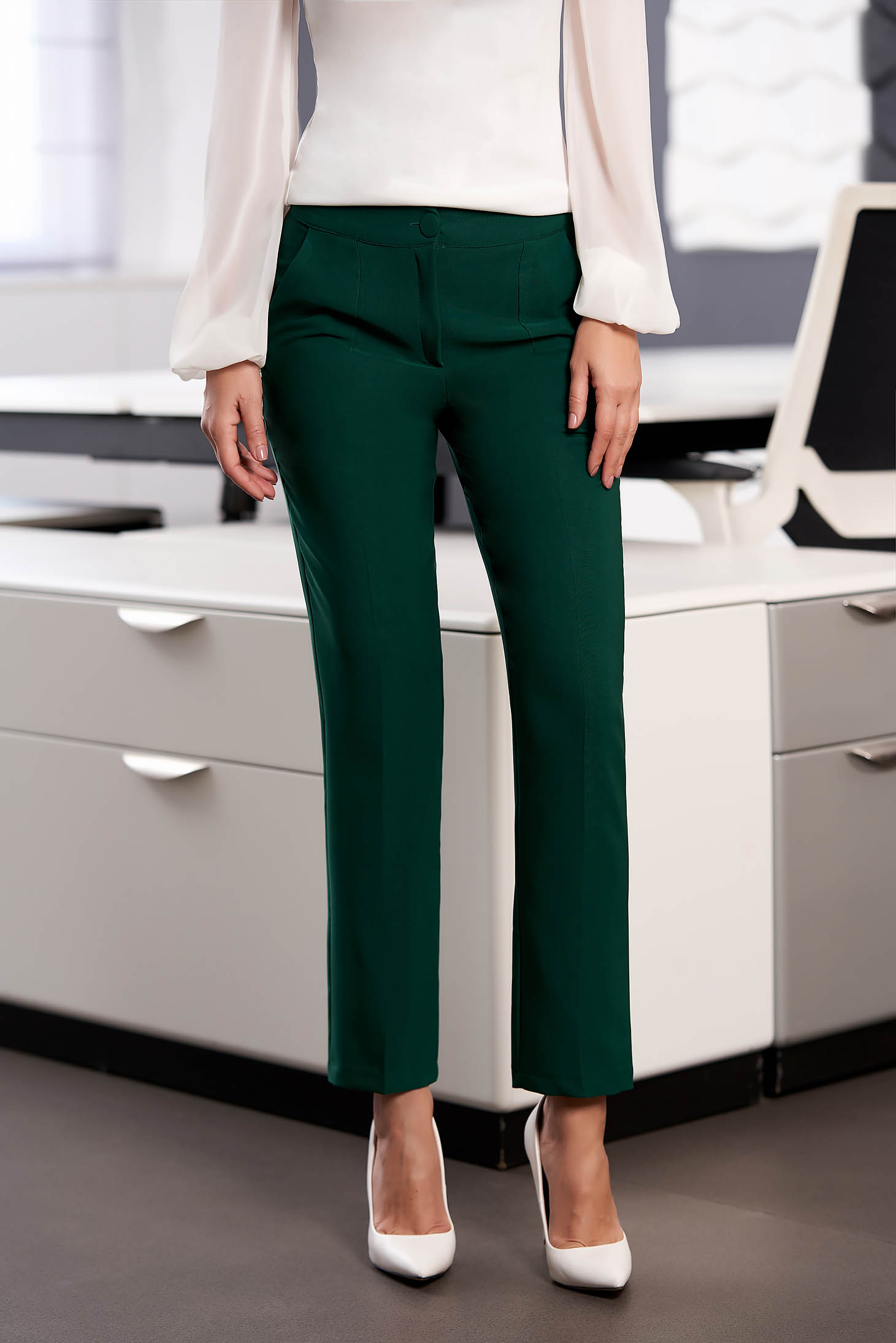 Trousers darkgreen office cloth medium waist straight